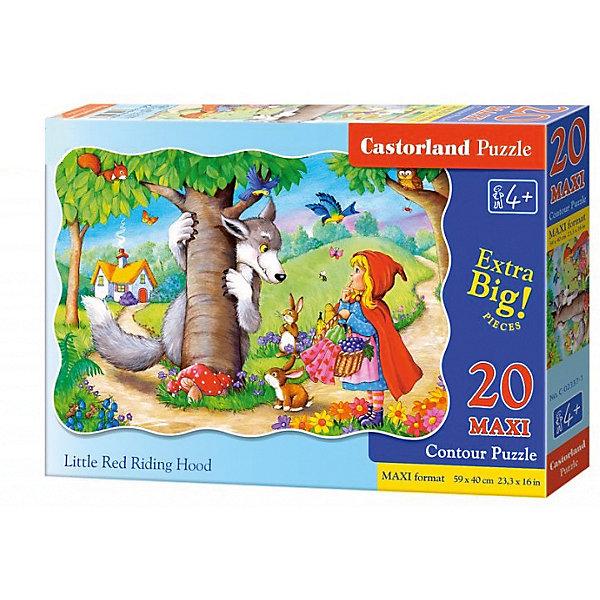 Макси-пазл Castorland Красная шапочка, 20 деталейПазлы для малышей<br>Характеристики:<br><br>• возраст: от 4 лет<br>• количество деталей: 20 деталей MAXI<br>• размер собранного пазла: 59х40 см.<br>• материал: картон<br>• упаковка: картонная коробка<br>• размер упаковки: 32x4,7x22 см.<br>• вес: 400 гр.<br>• страна обладатель бренда: Польша<br><br>Из 20 больших элементов пазла ребенок соберет красочную картинку с изображением героев сказки «Красная Шапочка». Благодаря фигурной форме картинки, процесс сбора элементов в одно изображение будет увлекательным и интересным.<br><br>Пазл Красная шапочка, 20 деталей MAXI, Castorland (Касторленд) можно купить в нашем интернет-магазине.<br><br>Ширина мм: 320<br>Глубина мм: 220<br>Высота мм: 47<br>Вес г: 400<br>Возраст от месяцев: 48<br>Возраст до месяцев: 2147483647<br>Пол: Унисекс<br>Возраст: Детский<br>SKU: 6725111