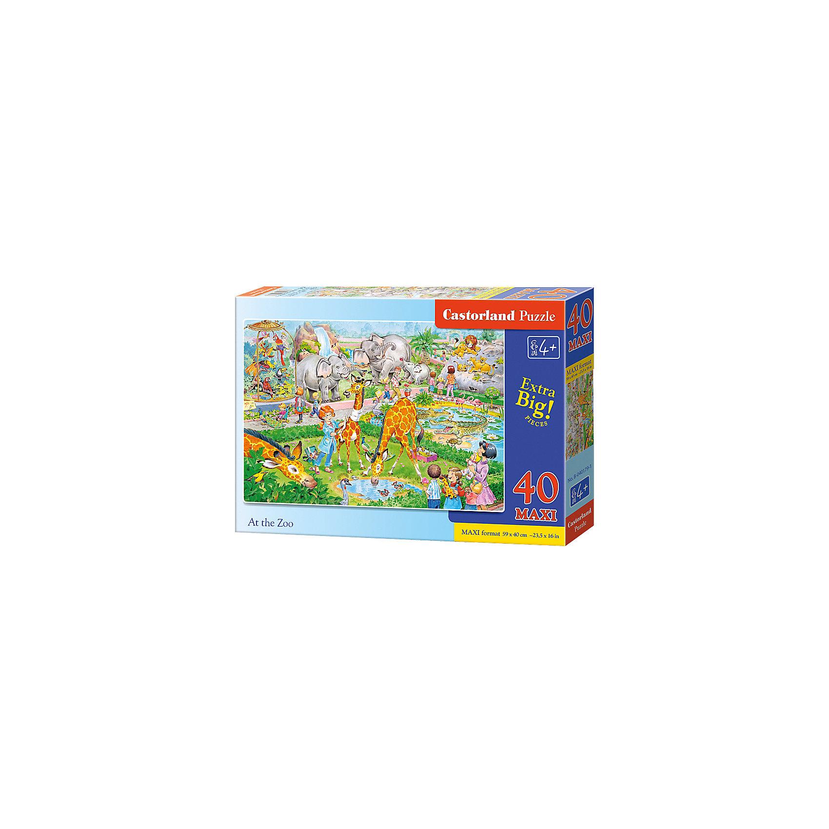 Макси-пазл Castorland Зоопарк, 40 деталейПазлы для малышей<br>Характеристики:<br><br>• возраст: от 4 лет<br>• количество деталей: 40 деталей MAXI<br>• размер собранного пазла: 59х40 см.<br>• материал: картон<br>• упаковка: картонная коробка<br>• размер упаковки: 32x4,7x22 см.<br>• вес: 400 гр.<br>• страна обладатель бренда: Польша<br><br>Пазл «Зоопарк» от Castorland (Касторленд) отличается хорошим качеством, высоким уровнем полиграфии, насыщенными цветами и идеальной стыковкой элементов. Из 40 больших элементов пазла ребенок соберет красочную картинку с изображением животных живущих в зоопарке.<br><br>Пазл Зоопарк, 40 деталей MAXI, Castorland (Касторленд) можно купить в нашем интернет-магазине.<br><br>Ширина мм: 320<br>Глубина мм: 220<br>Высота мм: 47<br>Вес г: 400<br>Возраст от месяцев: 48<br>Возраст до месяцев: 2147483647<br>Пол: Унисекс<br>Возраст: Детский<br>SKU: 6725113