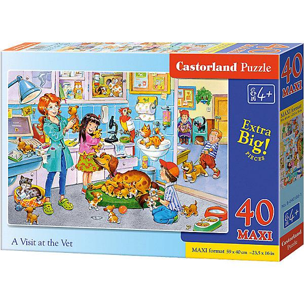 Макси-пазл Castorland Ветклиника, 40 деталейПазлы для малышей<br>Характеристики:<br><br>• возраст: от 4 лет<br>• количество деталей: 40 деталей MAXI<br>• размер собранного пазла: 59х40 см.<br>• материал: картон<br>• упаковка: картонная коробка<br>• размер упаковки: 32x4,7x22 см.<br>• вес: 400 гр.<br>• страна обладатель бренда: Польша<br><br>Пазл «Ветклиника» от Castorland (Касторленд) отличается хорошим качеством, высоким уровнем полиграфии, насыщенными цветами и идеальной стыковкой элементов. Из 40 больших элементов пазла ребенок соберет красочную картинку с изображением одного рабочего дня в ветеринарной клинике.<br><br>Пазл Ветклиника, 40 деталей MAXI, Castorland (Касторленд) можно купить в нашем интернет-магазине.<br>Ширина мм: 320; Глубина мм: 220; Высота мм: 47; Вес г: 400; Возраст от месяцев: 48; Возраст до месяцев: 2147483647; Пол: Унисекс; Возраст: Детский; SKU: 6725114;