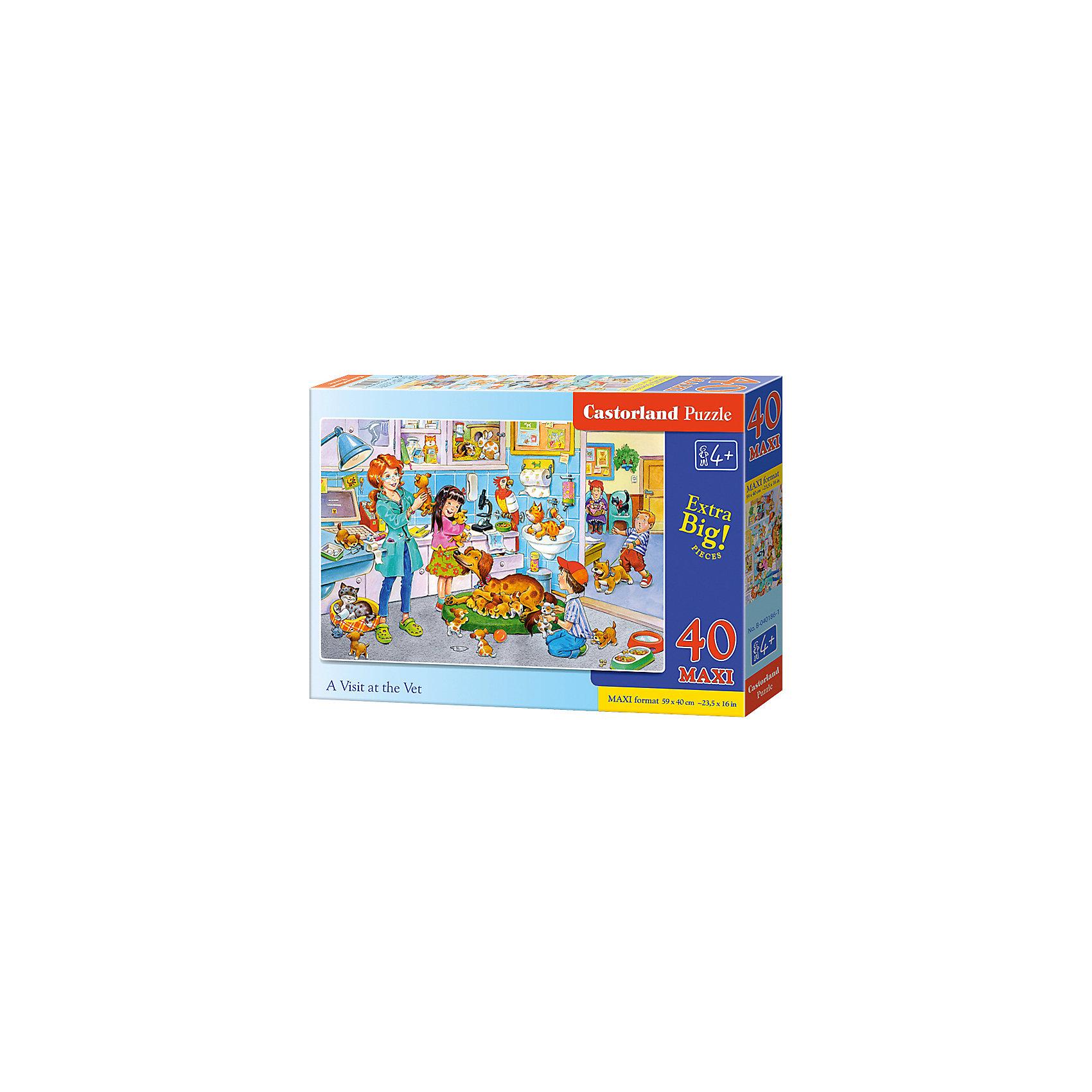 Макси-пазл Castorland Ветклиника, 40 деталейКлассические пазлы<br>Характеристики:<br><br>• возраст: от 4 лет<br>• количество деталей: 40 деталей MAXI<br>• размер собранного пазла: 59х40 см.<br>• материал: картон<br>• упаковка: картонная коробка<br>• размер упаковки: 32x4,7x22 см.<br>• вес: 400 гр.<br>• страна обладатель бренда: Польша<br><br>Пазл «Ветклиника» от Castorland (Касторленд) отличается хорошим качеством, высоким уровнем полиграфии, насыщенными цветами и идеальной стыковкой элементов. Из 40 больших элементов пазла ребенок соберет красочную картинку с изображением одного рабочего дня в ветеринарной клинике.<br><br>Пазл Ветклиника, 40 деталей MAXI, Castorland (Касторленд) можно купить в нашем интернет-магазине.<br><br>Ширина мм: 320<br>Глубина мм: 220<br>Высота мм: 47<br>Вес г: 400<br>Возраст от месяцев: 48<br>Возраст до месяцев: 2147483647<br>Пол: Унисекс<br>Возраст: Детский<br>SKU: 6725114