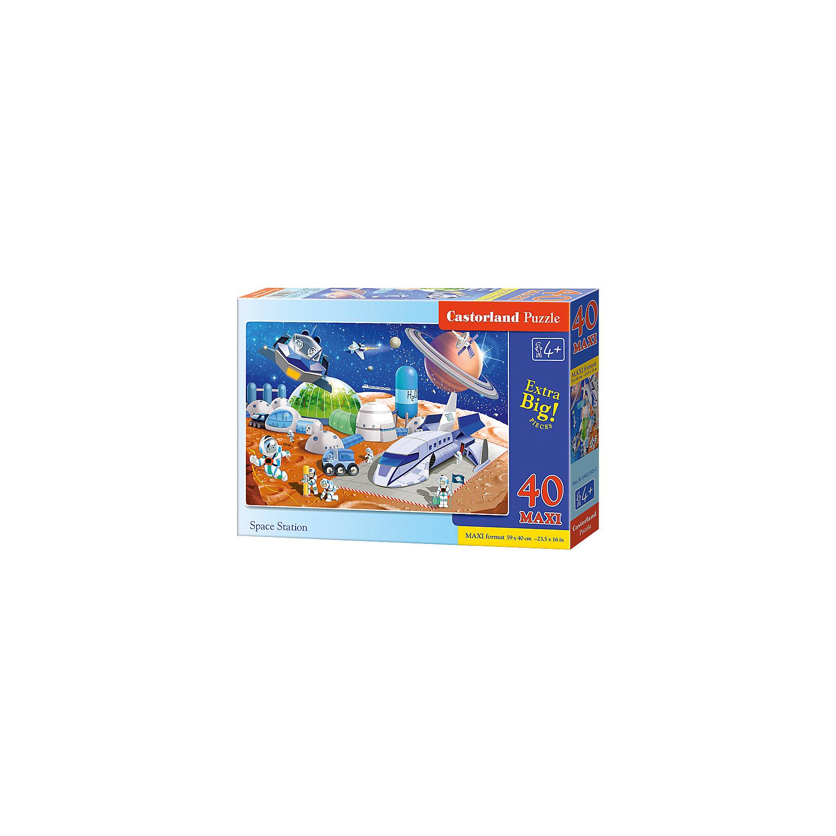 Макси-пазл Castorland Космическая станция, 40 деталейПазлы для малышей<br>Характеристики:<br><br>• возраст: от 4 лет<br>• количество деталей: 40 деталей MAXI<br>• размер собранного пазла: 59х40 см.<br>• материал: картон<br>• упаковка: картонная коробка<br>• размер упаковки: 32x4,7x22 см.<br>• вес: 400 гр.<br>• страна обладатель бренда: Польша<br><br>Пазл «Космическая станция» от Castorland (Касторленд) отличается хорошим качеством, высоким уровнем полиграфии, насыщенными цветами и идеальной стыковкой элементов. Из 40 больших элементов пазла ребенок соберет красочную картинку с изображением космической станции.<br><br>Пазл Космическая станция, 40 деталей MAXI, Castorland (Касторленд) можно купить в нашем интернет-магазине.<br><br>Ширина мм: 320<br>Глубина мм: 220<br>Высота мм: 47<br>Вес г: 400<br>Возраст от месяцев: 48<br>Возраст до месяцев: 2147483647<br>Пол: Мужской<br>Возраст: Детский<br>SKU: 6725116