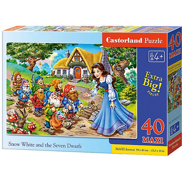 Макси-пазл Castorland Белоснежка, 40 деталейПазлы для малышей<br>Характеристики:<br><br>• возраст: от 4 лет<br>• количество деталей: 40 деталей MAXI<br>• размер собранного пазла: 59х40 см.<br>• материал: картон<br>• упаковка: картонная коробка<br>• размер упаковки: 32x4,7x22 см.<br>• вес: 400 гр.<br>• страна обладатель бренда: Польша<br><br>Пазл «Белоснежка» от Castorland (Касторленд) отличается хорошим качеством, высоким уровнем полиграфии, насыщенными цветами и идеальной стыковкой элементов. Из 40 больших элементов пазла ребенок соберет красочную картинку с изображением Белоснежки и гномов.<br><br>Пазл Белоснежка, 40 деталей MAXI, Castorland (Касторленд) можно купить в нашем интернет-магазине.<br><br>Ширина мм: 320<br>Глубина мм: 220<br>Высота мм: 47<br>Вес г: 400<br>Возраст от месяцев: 48<br>Возраст до месяцев: 2147483647<br>Пол: Женский<br>Возраст: Детский<br>SKU: 6725117