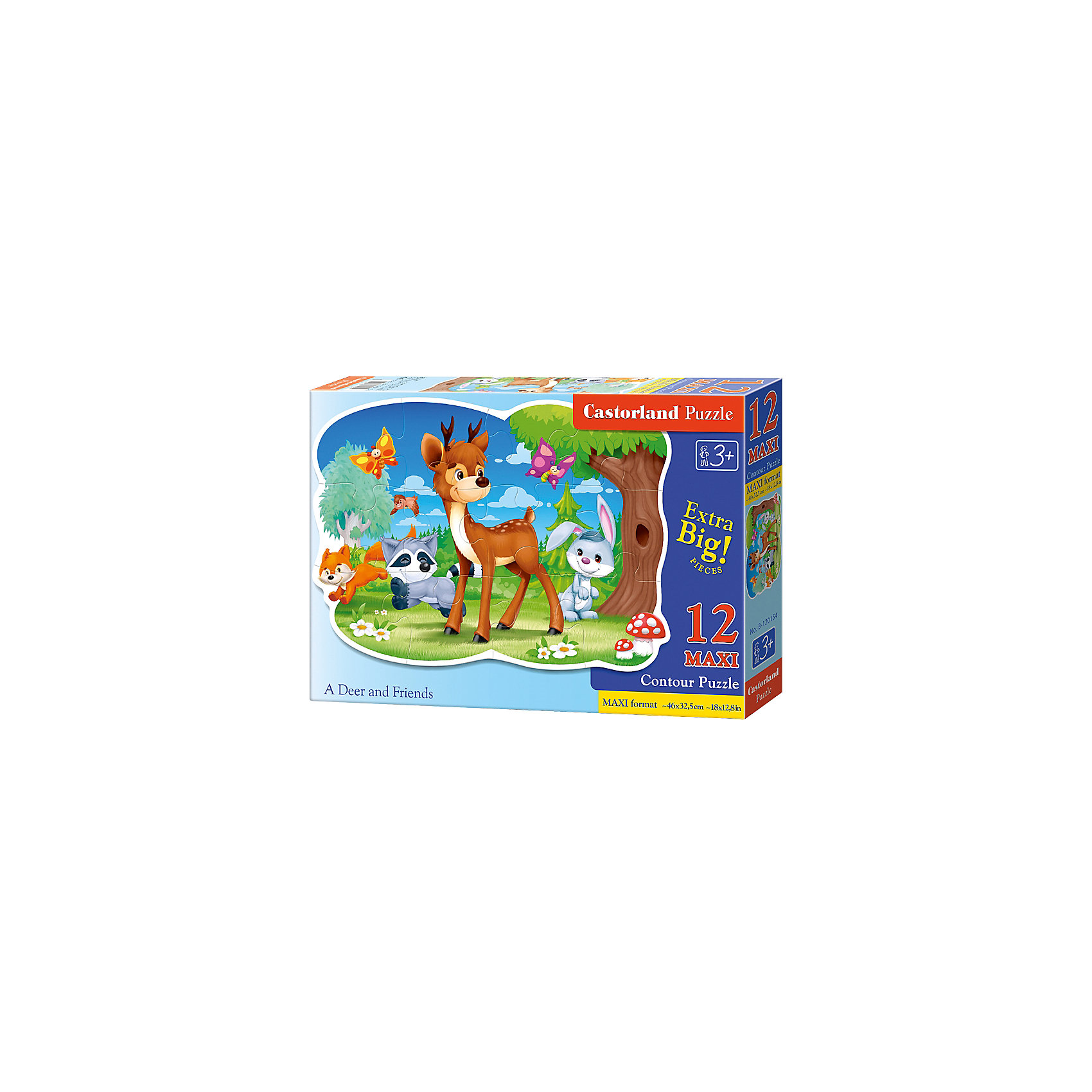 Макси-пазл Castorland Олень с друзьями, 12 деталейПазлы для малышей<br>Характеристики:<br><br>• возраст: от 3 лет<br>• количество деталей: 12 деталей MAXI<br>• размер собранного пазла: 45х32,5 см.<br>• материал: картон<br>• упаковка: картонная коробка<br>• размер упаковки: 32x4,7x22 см.<br>• вес: 400 гр.<br>• страна обладатель бренда: Польша<br><br>Из 12 больших элементов пазла ребенок соберет красочную картинку с изображением олененка, который играет на лесной полянке со своими друзьями. Благодаря фигурной форме картинки, процесс сбора элементов в одно изображение будет увлекательным и интересным.<br><br>Пазл Олень с друзьями, 12 деталей MAXI, Castorland (Касторленд) можно купить в нашем интернет-магазине.<br><br>Ширина мм: 320<br>Глубина мм: 220<br>Высота мм: 47<br>Вес г: 400<br>Возраст от месяцев: 36<br>Возраст до месяцев: 2147483647<br>Пол: Унисекс<br>Возраст: Детский<br>SKU: 6725120