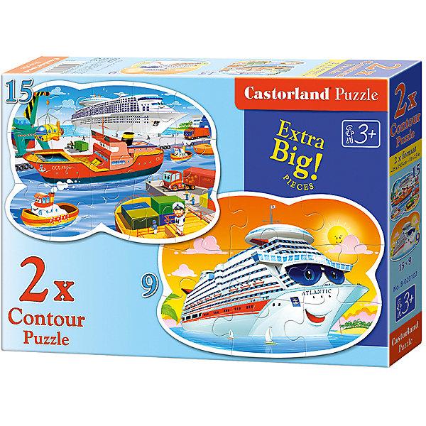 Пазл 2 в 1 Castorland Морские приключения, 9*15 деталейПазлы для малышей<br>Характеристики:<br><br>• возраст: от 3 лет<br>• в наборе: 2 пазла<br>• количество деталей: 9 и 15 шт.<br>• размер собранного пазла: 28х19,5 см.<br>• материал: картон<br>• упаковка: картонная коробка<br>• размер упаковки: 32x4,7x22 см.<br>• вес: 300 гр.<br>• страна обладатель бренда: Польша<br><br>Из элементов пазла ребенок соберет две красочные картинки, на одной изображен улыбающийся морской лайнер, а на другой порт с кораблями. Благодаря фигурной форме картинок, процесс сбора элементов в одно изображение будет увлекательным и интересным.<br><br>Пазлы 2 в 1 Морские приключения, 9*15 деталей, Castorland (Касторленд) можно купить в нашем интернет-магазине.<br><br>Ширина мм: 320<br>Глубина мм: 220<br>Высота мм: 47<br>Вес г: 300<br>Возраст от месяцев: 36<br>Возраст до месяцев: 2147483647<br>Пол: Мужской<br>Возраст: Детский<br>SKU: 6725121