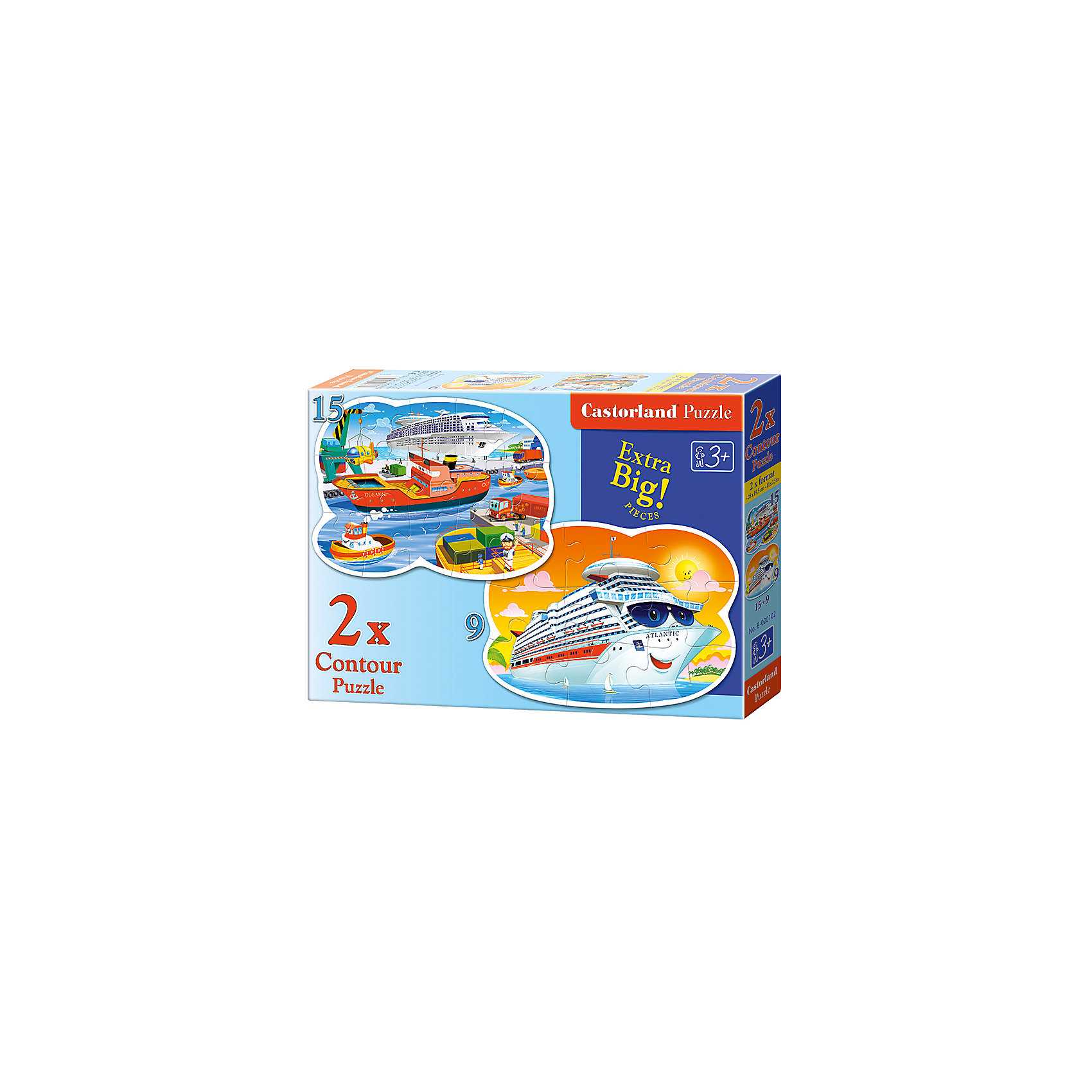 Пазл 2 в 1 Castorland Морские приключения, 9*15 деталейКлассические пазлы<br>Характеристики:<br><br>• возраст: от 3 лет<br>• в наборе: 2 пазла<br>• количество деталей: 9 и 15 шт.<br>• размер собранного пазла: 28х19,5 см.<br>• материал: картон<br>• упаковка: картонная коробка<br>• размер упаковки: 32x4,7x22 см.<br>• вес: 300 гр.<br>• страна обладатель бренда: Польша<br><br>Из элементов пазла ребенок соберет две красочные картинки, на одной изображен улыбающийся морской лайнер, а на другой порт с кораблями. Благодаря фигурной форме картинок, процесс сбора элементов в одно изображение будет увлекательным и интересным.<br><br>Пазлы 2 в 1 Морские приключения, 9*15 деталей, Castorland (Касторленд) можно купить в нашем интернет-магазине.<br><br>Ширина мм: 320<br>Глубина мм: 220<br>Высота мм: 47<br>Вес г: 300<br>Возраст от месяцев: 36<br>Возраст до месяцев: 2147483647<br>Пол: Мужской<br>Возраст: Детский<br>SKU: 6725121