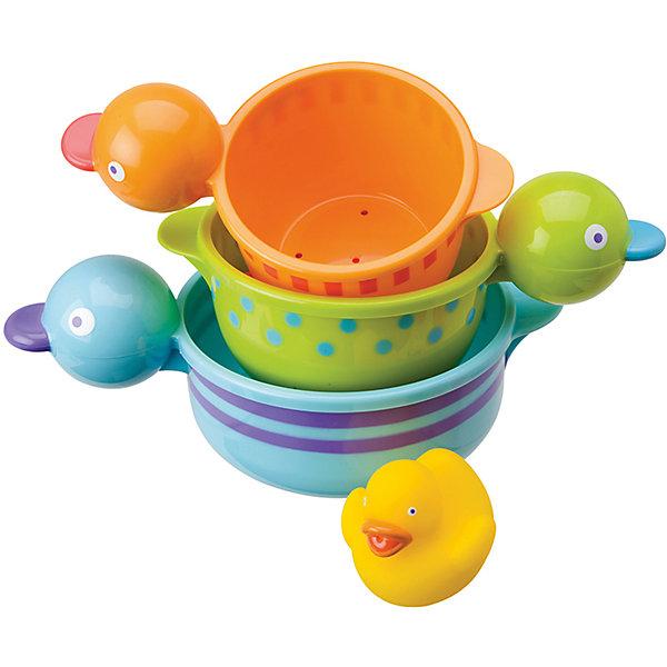 Набор для ванны Чашки-уточки, ALEXИгрушки для ванной<br>Характеристики:<br><br>• для детей в возрасте: от 6 месяцев<br>• в комплекте: 3 чашки разного размера, утенок<br>• материал: высококачественная пластмасса, гигиеническая мягкая резина<br>• размер упаковки: 279х154х127 мм.<br>• вес: 378 гр.<br><br>Набор для ванны «Чашки-уточки», ALEX (АЛЕКС) превратит купание малыша в веселую игру. В набор входит желтый резиновый утенок и 3 забавные разноцветные пластиковые чашечки в виде уточек. Чашки, как настоящие уточки, могут плавать по воде. Их можно собирать в пирамидку. Кроме того, каждая чашка имеет удобную для хватания, ручку в форме головы утки. Все элементы набора выполнены в ярких красках.<br>Набор для ванны «Чашки-уточки» развивает воображение, цветовосприятие, мелкую моторику, а также помогает ребенку справиться с боязнью воды.<br><br>Набор для ванны Чашки-уточки, ALEX (АЛЕКС) можно купить в нашем интернет-магазине.<br>Ширина мм: 279; Глубина мм: 254; Высота мм: 127; Вес г: 378; Возраст от месяцев: 6; Возраст до месяцев: 2147483647; Пол: Унисекс; Возраст: Детский; SKU: 6725327;