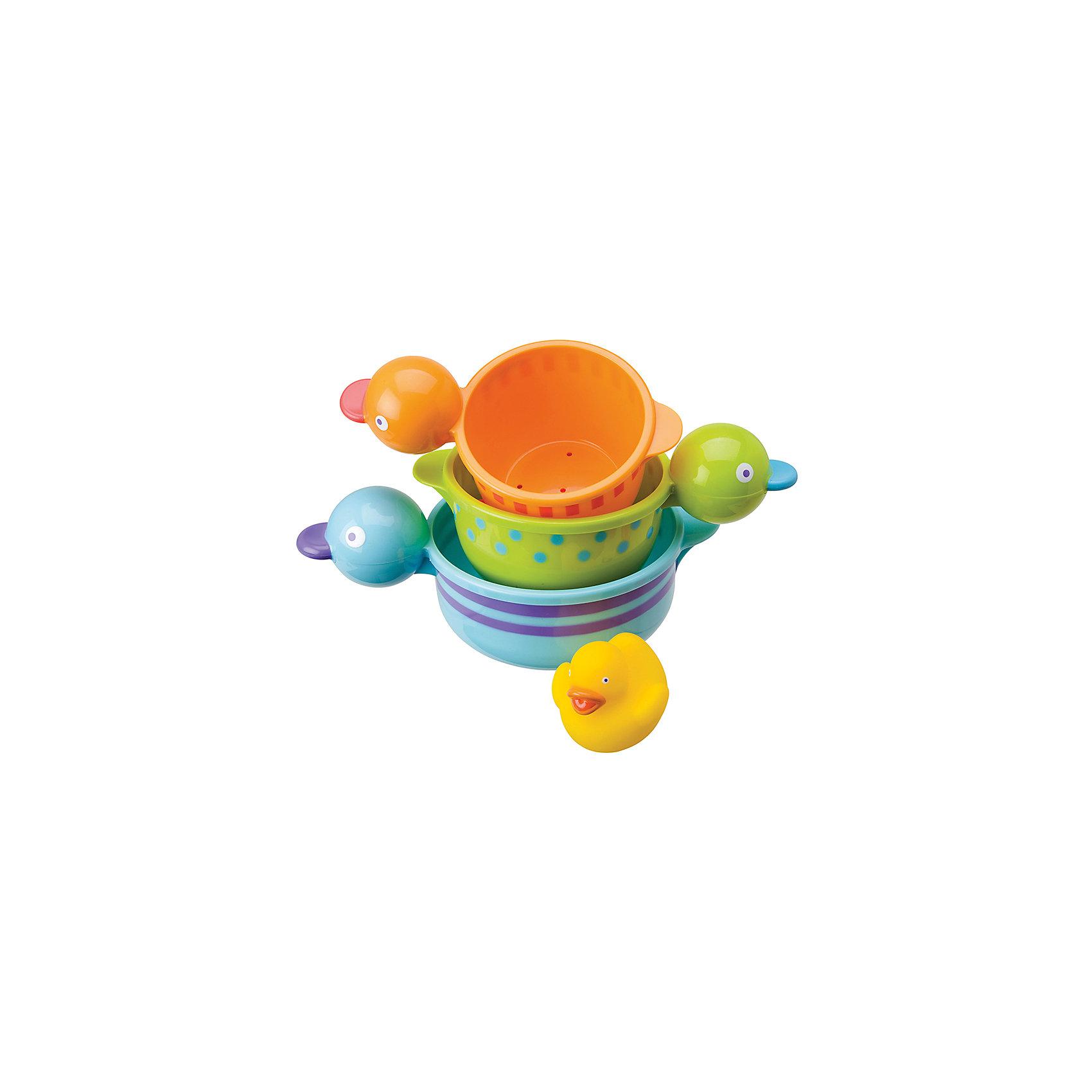 Набор для ванны Чашки-уточки, ALEXИгрушки ПВХ<br>Характеристики:<br><br>• для детей в возрасте: от 6 месяцев<br>• в комплекте: 3 чашки разного размера, утенок<br>• материал: высококачественная пластмасса, гигиеническая мягкая резина<br>• размер упаковки: 279х154х127 мм.<br>• вес: 378 гр.<br><br>Набор для ванны «Чашки-уточки», ALEX (АЛЕКС) превратит купание малыша в веселую игру. В набор входит желтый резиновый утенок и 3 забавные разноцветные пластиковые чашечки в виде уточек. Чашки, как настоящие уточки, могут плавать по воде. Их можно собирать в пирамидку. Кроме того, каждая чашка имеет удобную для хватания, ручку в форме головы утки. Все элементы набора выполнены в ярких красках.<br>Набор для ванны «Чашки-уточки» развивает воображение, цветовосприятие, мелкую моторику, а также помогает ребенку справиться с боязнью воды.<br><br>Набор для ванны Чашки-уточки, ALEX (АЛЕКС) можно купить в нашем интернет-магазине.<br><br>Ширина мм: 279<br>Глубина мм: 254<br>Высота мм: 127<br>Вес г: 378<br>Возраст от месяцев: 6<br>Возраст до месяцев: 2147483647<br>Пол: Унисекс<br>Возраст: Детский<br>SKU: 6725327