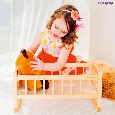 Кукольная люлька из дерева, бежевый текстиль, PAREMO