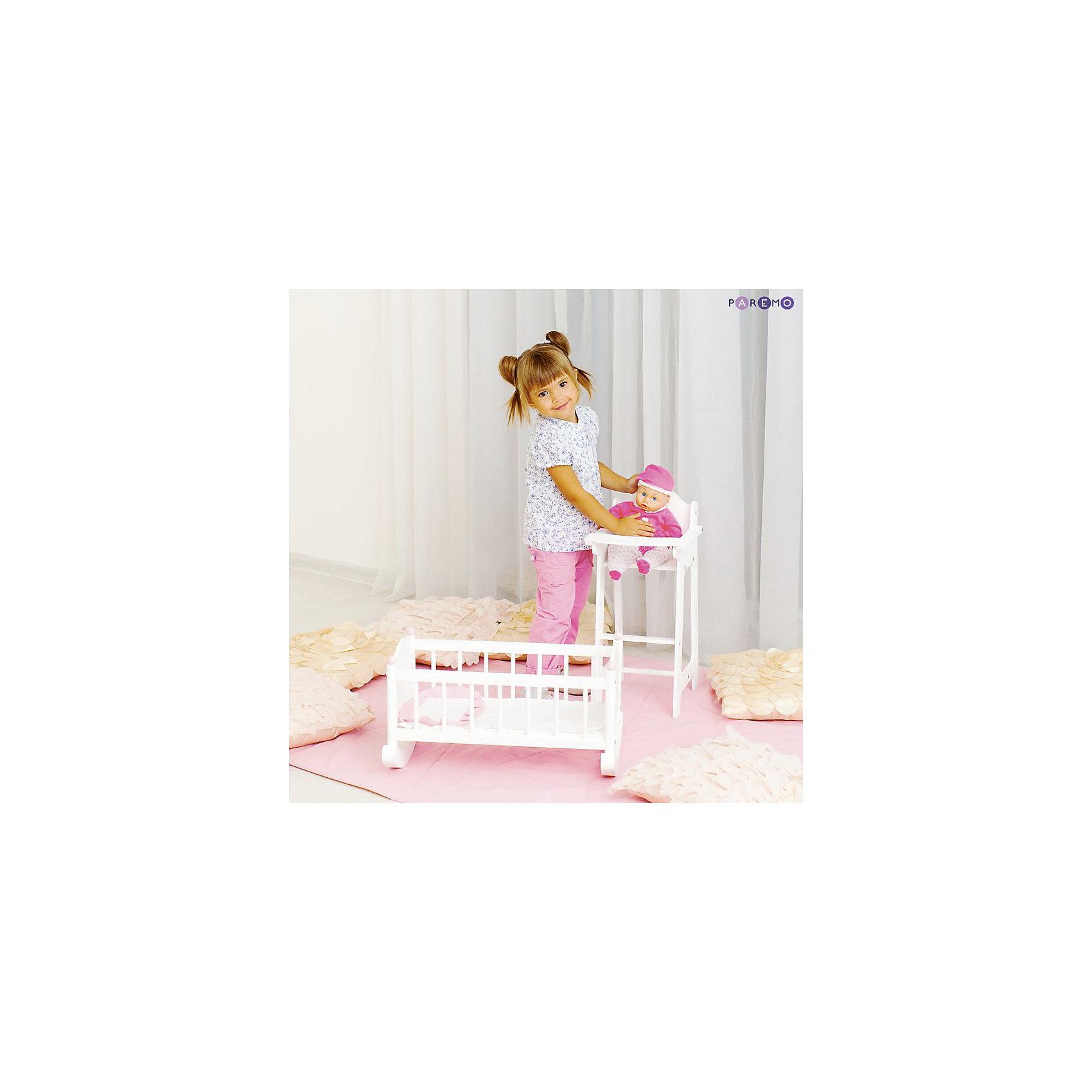 Набор кукольной мебели Стул+люлька, белый, PAREMOМебель для кукол<br>Характеристики товара:<br><br>• возраст: от 3 лет;<br>• материал: дерево, МДФ, текстиль;<br>• в комплекте: кровать, матрас, подушка, одеяло, стул;<br>• подходит для кукол высотой до 55 см;<br>• размер кровати: 60х31х29 см;<br>• размер стульчика: 55х31х26 см;<br>• размер упаковки: 65х35х15 см;<br>• вес упаковки: 4 кг;<br>• страна производитель: Россия.<br><br>Набор кукольной мебели Paremo белый включает в себя кроватку-люльку и стульчик для кормления. Набор подойдет для кукол до 55 см. С ним девочка будет устраивать разнообразные игры вместе с любимой куклой. Благодаря полозьям кроватку можно покачать, чтобы кукла быстрее уснула. <br><br>Для кормления предусмотрен удобный стульчик с поднимающимся столиком. Мебель изготовлена из натурального дерева, не имеет острых опасных элементов.<br><br>Набор кукольной мебели Paremo белый можно приобрести в нашем интернет-магазине.<br><br>Ширина мм: 650<br>Глубина мм: 350<br>Высота мм: 150<br>Вес г: 4000<br>Возраст от месяцев: 36<br>Возраст до месяцев: 2147483647<br>Пол: Женский<br>Возраст: Детский<br>SKU: 6725405
