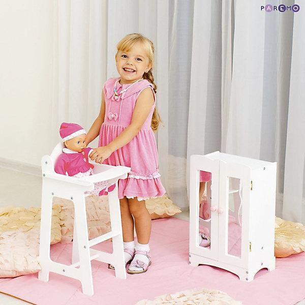 Набор кукольной мебели Шкаф+стул, белый, PAREMOМебель для кукол<br>Характеристики товара:<br><br>• возраст: от 3 лет;<br>• материал: дерево, МДФ;<br>• в комплекте: стул, шкаф;<br>• подходит для кукол высотой до 50 см;<br>• размер стула: 55х31х26 см;<br>• размер шкафа: 30х48х22 см;<br>• размер упаковки: 65х35х15 см;<br>• вес упаковки: 4 кг;<br>• страна производитель: Россия.<br><br>Набор кукольной мебели Paremo белый включает в себя стульчик для кормления и шкафчик. Набор подойдет для кукол до 50 см. С ним девочка будет устраивать разнообразные игры вместе с любимой куклой. <br><br>Кормить куколку вкусными блюдами девочка будет, усадив ее на стульчик с удобным поднимающимся столиком. Для хранения одежды и вещей в шкафчике имеются 6 вешалок и полка. Двери шкафа открываются. Мебель изготовлена из натурального дерева, не имеет острых опасных элементов.<br><br>Набор кукольной мебели Paremo белый можно приобрести в нашем интернет-магазине.<br><br>Ширина мм: 650<br>Глубина мм: 350<br>Высота мм: 150<br>Вес г: 4000<br>Возраст от месяцев: 36<br>Возраст до месяцев: 2147483647<br>Пол: Женский<br>Возраст: Детский<br>SKU: 6725408