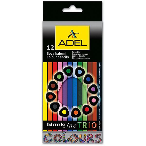 ADEL Карандаши цветные Blackline-PB TRIO трехгранные, 12 цветов.Карандаши для творчества<br>Высококачественные цветные карандаши эргономической треугольной формы с супермягким грифелем толщиной 3 мм. Корпус из черного дерева с покрытием лаком в цвет грифеля. Цвета яркие, насыщенные. Легкое затачивание.<br><br>Ширина мм: 200<br>Глубина мм: 120<br>Высота мм: 10<br>Вес г: 90<br>Возраст от месяцев: 36<br>Возраст до месяцев: 2147483647<br>Пол: Унисекс<br>Возраст: Детский<br>SKU: 6725448