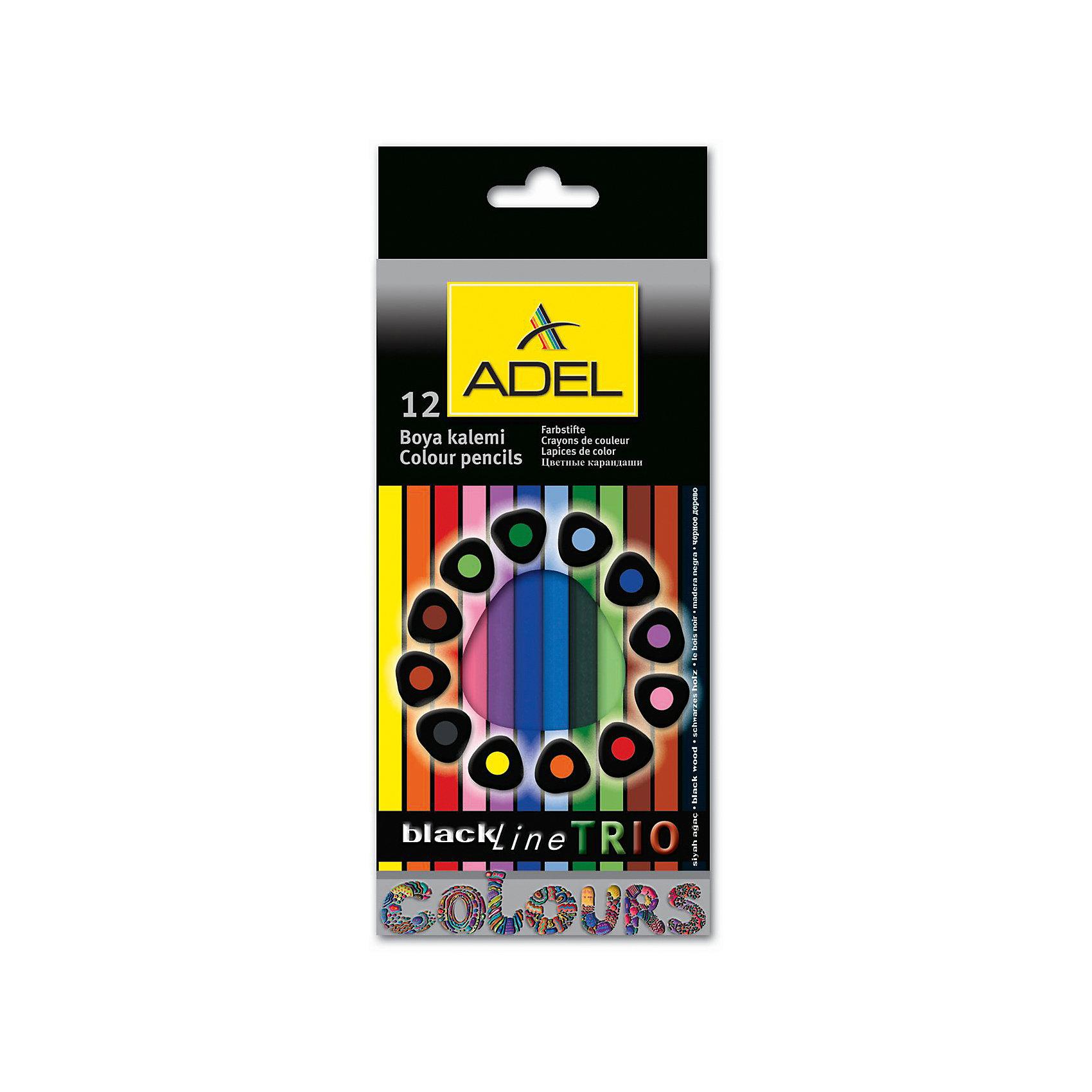 ADEL Карандаши цветные Blackline-PB TRIO трехгранные, 12 цветов.Письменные принадлежности<br>Высококачественные цветные карандаши эргономической треугольной формы с супермягким грифелем толщиной 3 мм. Корпус из черного дерева с покрытием лаком в цвет грифеля. Цвета яркие, насыщенные. Легкое затачивание.<br><br>Ширина мм: 200<br>Глубина мм: 120<br>Высота мм: 10<br>Вес г: 90<br>Возраст от месяцев: 36<br>Возраст до месяцев: 2147483647<br>Пол: Унисекс<br>Возраст: Детский<br>SKU: 6725448