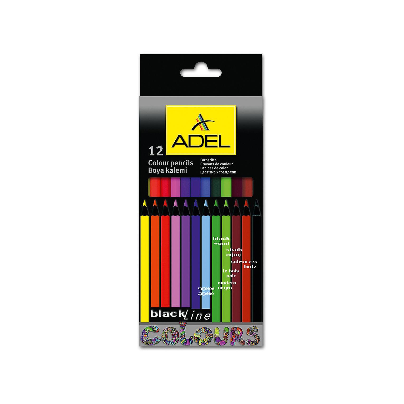 ADEL Карандаши цветные Blackline-PB, шестигранные, 12 цветов.Письменные принадлежности<br>Высококачественные цветные карандаши шестигранной классической формы с супермягким грифелем толщиной 3 мм. Корпус из черного дерева с покрытием лаком в цвет грифеля. Цвета яркие, насыщенные. Легкое затачивание.<br><br>Ширина мм: 200<br>Глубина мм: 120<br>Высота мм: 10<br>Вес г: 90<br>Возраст от месяцев: 36<br>Возраст до месяцев: 2147483647<br>Пол: Унисекс<br>Возраст: Детский<br>SKU: 6725449