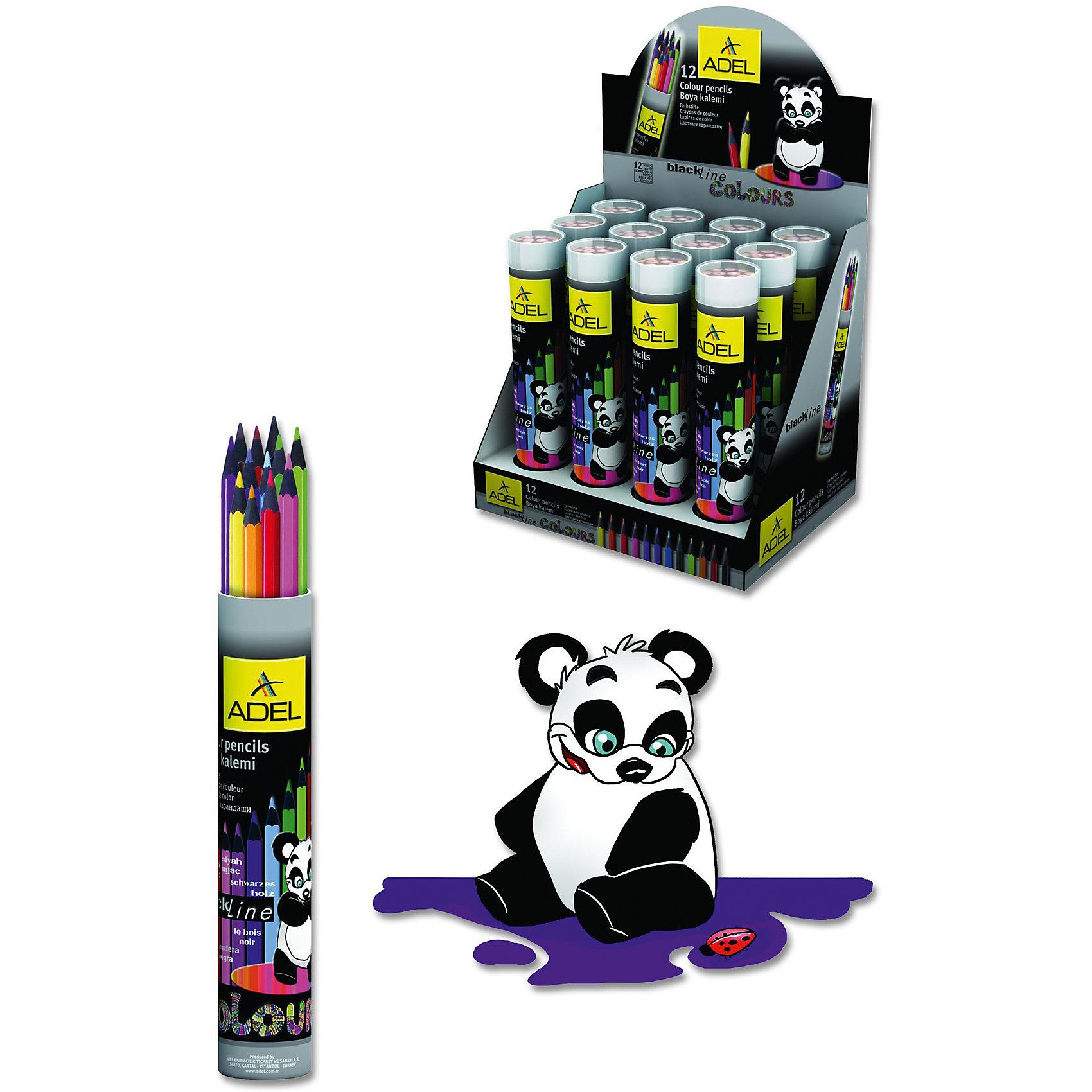 ADEL Карандаши цветные Colour в алюминиевом тубусе, 12 цветов.Рисование<br>Высококачественные цветные карандаши шестигранной классической формы с супермягким грифелем толщиной 3 мм в алюминиевом тубусе.  Корпус из черного дерева с покрытием лаком в цвет грифеля. Цвета яркие, насыщенные. Легкое затачивание.<br><br>Ширина мм: 190<br>Глубина мм: 32<br>Высота мм: 32<br>Вес г: 110<br>Возраст от месяцев: 36<br>Возраст до месяцев: 2147483647<br>Пол: Унисекс<br>Возраст: Детский<br>SKU: 6725450