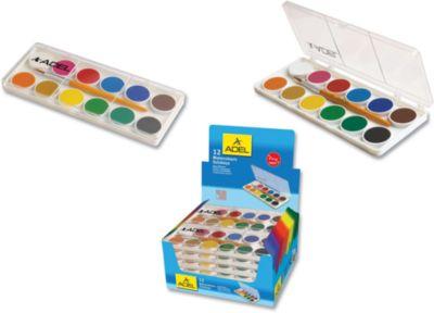 ADEL Акварельные краски в пластиковой коробке, 12 цветов.