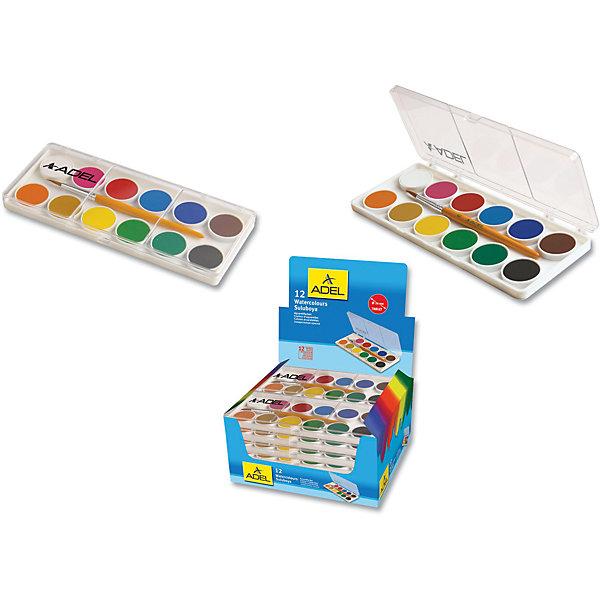 ADEL Акварельные краски в пластиковой коробке, 12 цветов.Рисование и лепка<br>Сухие кварельные краски в пластиковой коробке, 12 цветов, с кисточкой. Диаметр кюветы 24 мм. Краски легко смешиваются между собой, легко наносятся на бумагу. Яркие цвета.<br><br>Ширина мм: 300<br>Глубина мм: 100<br>Высота мм: 10<br>Вес г: 100<br>Возраст от месяцев: 36<br>Возраст до месяцев: 2147483647<br>Пол: Унисекс<br>Возраст: Детский<br>SKU: 6725453