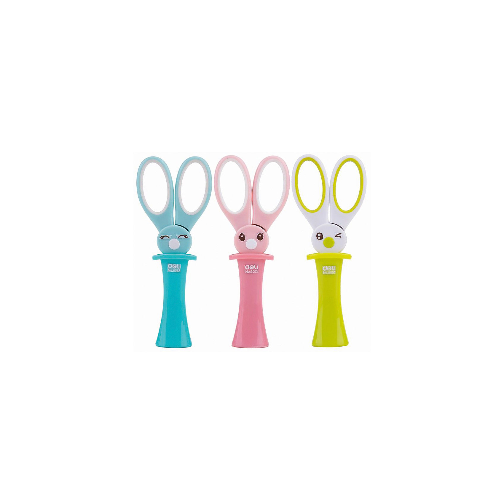 Deli Ножницы Magic Rabbit детские 137 мм, цвета с ассортименте.Школьные аксессуары<br>Яркие детские ножницы Волшебный Кролик в защитном футляре, который  также служит подставкой. Ножницы из высококачественной стали с лазерной заточкой и безопасными закругленными концами. Прорезиненные ручки для мягкого захвата.<br><br>Ширина мм: 145<br>Глубина мм: 50<br>Высота мм: 20<br>Вес г: 30<br>Возраст от месяцев: 36<br>Возраст до месяцев: 2147483647<br>Пол: Унисекс<br>Возраст: Детский<br>SKU: 6725454