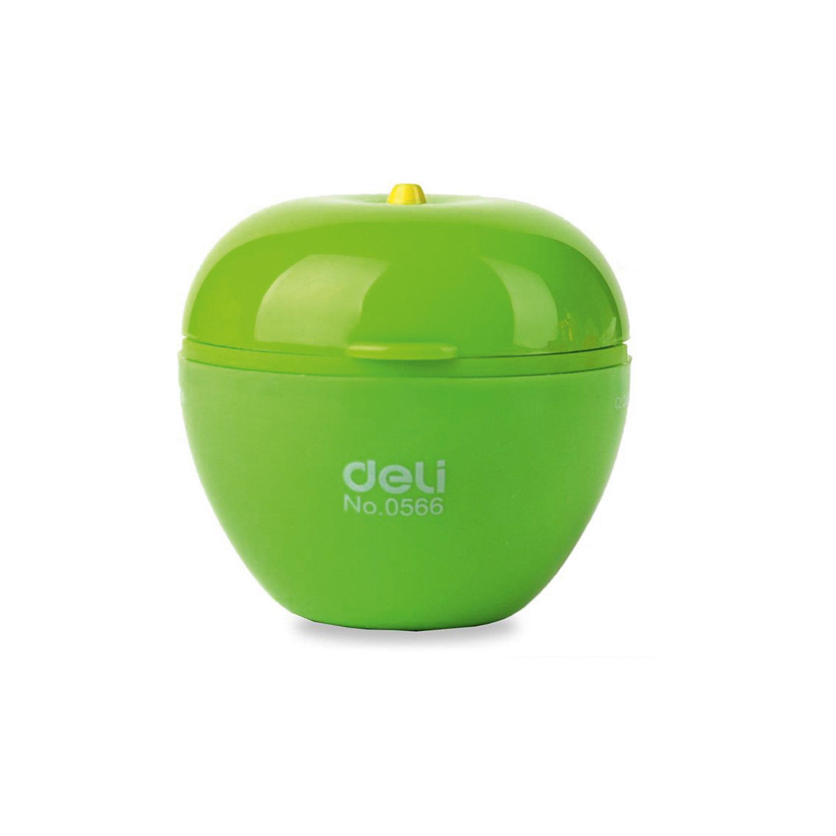 Deli Точилка для карандашей Яблоко, 2 отверстия, цвета в ассортименте.Письменные принадлежности<br>Точилка в форме яблока с двумя отверстиями для заточки карандашей и восковых мелков диаметром 7-12 мм. Экстра-острое лезвие обеспечивает плавную заточку и предотвращает поломку грифеля.<br><br>Ширина мм: 47<br>Глубина мм: 47<br>Высота мм: 45<br>Вес г: 15<br>Возраст от месяцев: 36<br>Возраст до месяцев: 2147483647<br>Пол: Унисекс<br>Возраст: Детский<br>SKU: 6725457