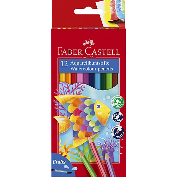 Faber-Castell Карандаши акварельные Colour Pencils с кисточкой, 12 цветовПисьменные принадлежности<br>Карандаши классической шестигранной формы с грифелем, размываемым водой. Яркие, насыщенные цвета. Специальная технология вклеивания грифеля делает его более прочным и снижает ломкость. Карандаши покрыты лаком на водной основе – бережным по отношению к окружающей среде и здоровью детей. Качественная древесина – гарантия легкого затачивания при помощи стандартных точилок. Карандаши отстирываются с большинства тканей.<br><br>Ширина мм: 90<br>Глубина мм: 145<br>Высота мм: 11<br>Вес г: 78<br>Возраст от месяцев: 72<br>Возраст до месяцев: 2147483647<br>Пол: Унисекс<br>Возраст: Детский<br>SKU: 6725465