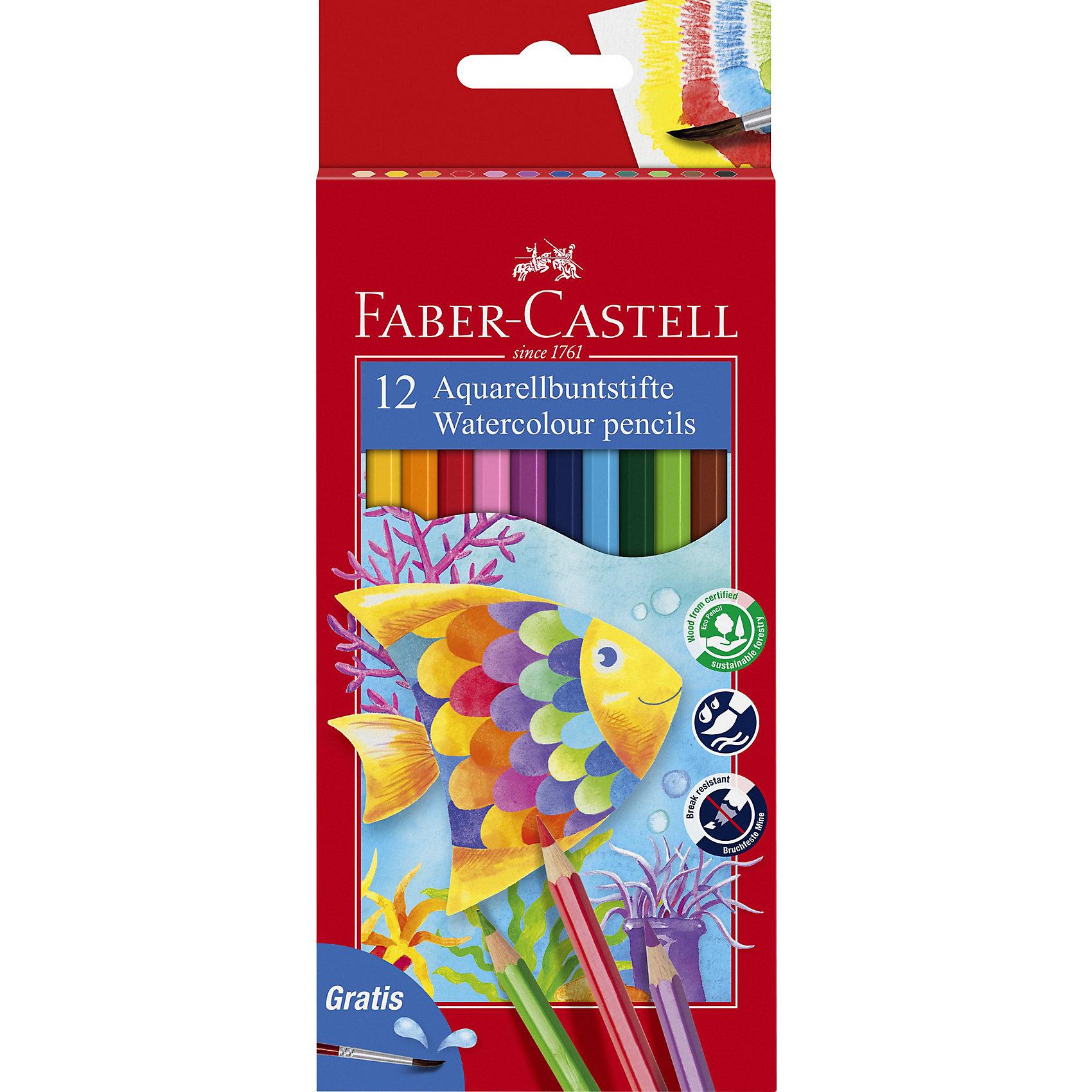 Faber-Castell Карандаши акварельные Colour Pencils с кисточкой, 12 цветовРисование<br>Карандаши классической шестигранной формы с грифелем, размываемым водой. Яркие, насыщенные цвета. Специальная технология вклеивания грифеля делает его более прочным и снижает ломкость. Карандаши покрыты лаком на водной основе – бережным по отношению к окружающей среде и здоровью детей. Качественная древесина – гарантия легкого затачивания при помощи стандартных точилок. Карандаши отстирываются с большинства тканей.<br><br>Ширина мм: 90<br>Глубина мм: 145<br>Высота мм: 11<br>Вес г: 78<br>Возраст от месяцев: 72<br>Возраст до месяцев: 2147483647<br>Пол: Унисекс<br>Возраст: Детский<br>SKU: 6725465