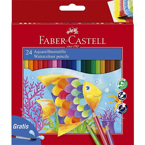 Faber-Castell Карандаши акварельные Colour Pencils с кисточкой, 24 цветаПисьменные принадлежности<br>Карандаши классической шестигранной формы с грифелем, размываемым водой. Яркие, насыщенные цвета. Специальная технология вклеивания грифеля делает его более прочным и снижает ломкость. Карандаши покрыты лаком на водной основе – бережным по отношению к окружающей среде и здоровью детей. Качественная древесина – гарантия легкого затачивания при помощи стандартных точилок. Карандаши отстирываются с большинства тканей.<br><br>Ширина мм: 180<br>Глубина мм: 145<br>Высота мм: 11<br>Вес г: 150<br>Возраст от месяцев: 72<br>Возраст до месяцев: 2147483647<br>Пол: Унисекс<br>Возраст: Детский<br>SKU: 6725466