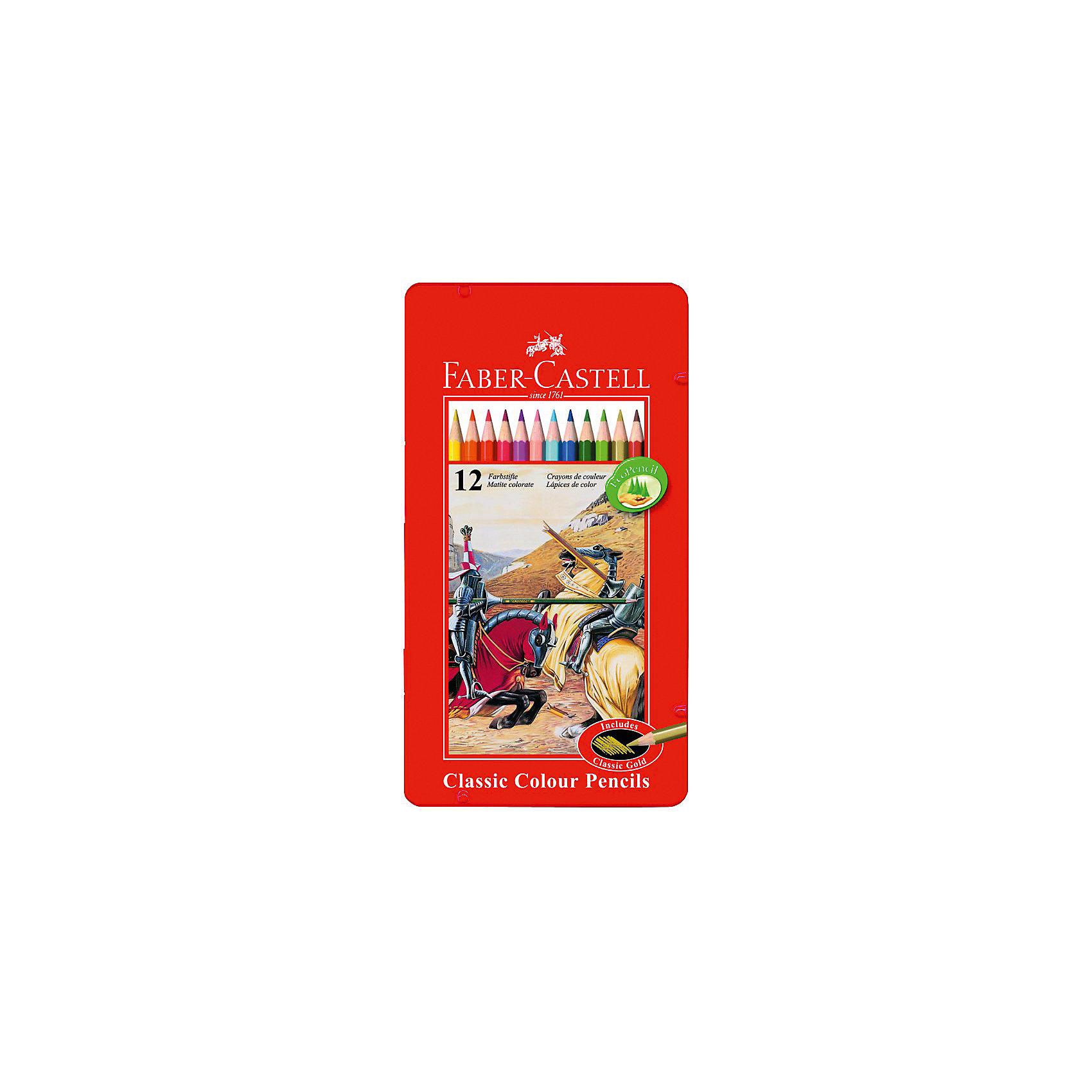 Faber-Castell Карандаши цветные Рыцарь в металлической коробке, 12 цветовПисьменные принадлежности<br>Карандаши классической шестигранной формы в комплекте с точилкой. Яркие, насыщенные цвета + золотой. Специальная технология вклеивания грифеля делает его более прочным и снижает ломкость. Карандаши покрыты лаком на водной основе – бережным по отношению к окружающей среде и здоровью детей. Удобная жестяная коробка. Качественная древесина – гарантия легкого затачивания при помощи стандартных точилок. Карандаши отстирываются с большинства тканей.<br><br>Ширина мм: 9999<br>Глубина мм: 9999<br>Высота мм: 9999<br>Вес г: 144<br>Возраст от месяцев: 72<br>Возраст до месяцев: 2147483647<br>Пол: Унисекс<br>Возраст: Детский<br>SKU: 6725471
