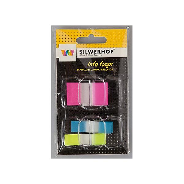 Silwerhof Закладки самоклеящиеся пластиковые, 3 цвета.Школьные аксессуары<br>Пластиковые закладки в удобном диспенсере для быстрого поиска нужной страницы, на которых можно легко наносить надписи шариковой ручкой. Закладки удаляются, не оставляя следов клея и не повреждая бумагу. Подходят для многоразового использования. 1 склейка 50 листов (размер 44х25 мм), 2 склейки по 35 листов  (размер 45Х12 мм)<br><br>Ширина мм: 120<br>Глубина мм: 80<br>Высота мм: 5<br>Вес г: 12<br>Возраст от месяцев: 72<br>Возраст до месяцев: 2147483647<br>Пол: Унисекс<br>Возраст: Детский<br>SKU: 6725478