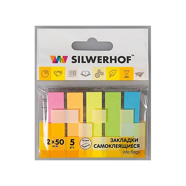 Silwerhof Закладки самоклеящиеся бумажные, 5 цветовШкольные аксессуары<br>Закладки самоклеящиеся бумажные, легко приклеиваются и надежно держатся. При удалении не оставляют следов клея. Наносить надписи можно шариковыми и гелевыми ручками. Размер 12х50 мм, склейки по 25 листов.<br><br>Ширина мм: 120<br>Глубина мм: 100<br>Высота мм: 5<br>Вес г: 10<br>Возраст от месяцев: 72<br>Возраст до месяцев: 2147483647<br>Пол: Унисекс<br>Возраст: Детский<br>SKU: 6725479