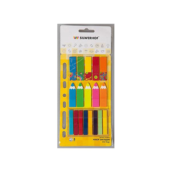 Silwerhof Закладки самоклеящиеся пластиковые, набор ассорти.Школьные аксессуары<br>Пластиковые закладки для быстрого поиска нужной страницы, на которых можно легко наносить надписи шариковой ручкой. Закладки удаляются, не оставляя следов клея и не повреждая бумагу. Подходят для многоразового использования. Размер: 12х45 - 10 штук по 20 листов, 7х45 мм - 8 штук по 20 листов. Перфорация на блоке с закладками позволяет вставлять его в тетрадь на кольцах, папки, скоросшиватели и т.п.<br><br>Ширина мм: 160<br>Глубина мм: 80<br>Высота мм: 5<br>Вес г: 31<br>Возраст от месяцев: 72<br>Возраст до месяцев: 2147483647<br>Пол: Унисекс<br>Возраст: Детский<br>SKU: 6725481