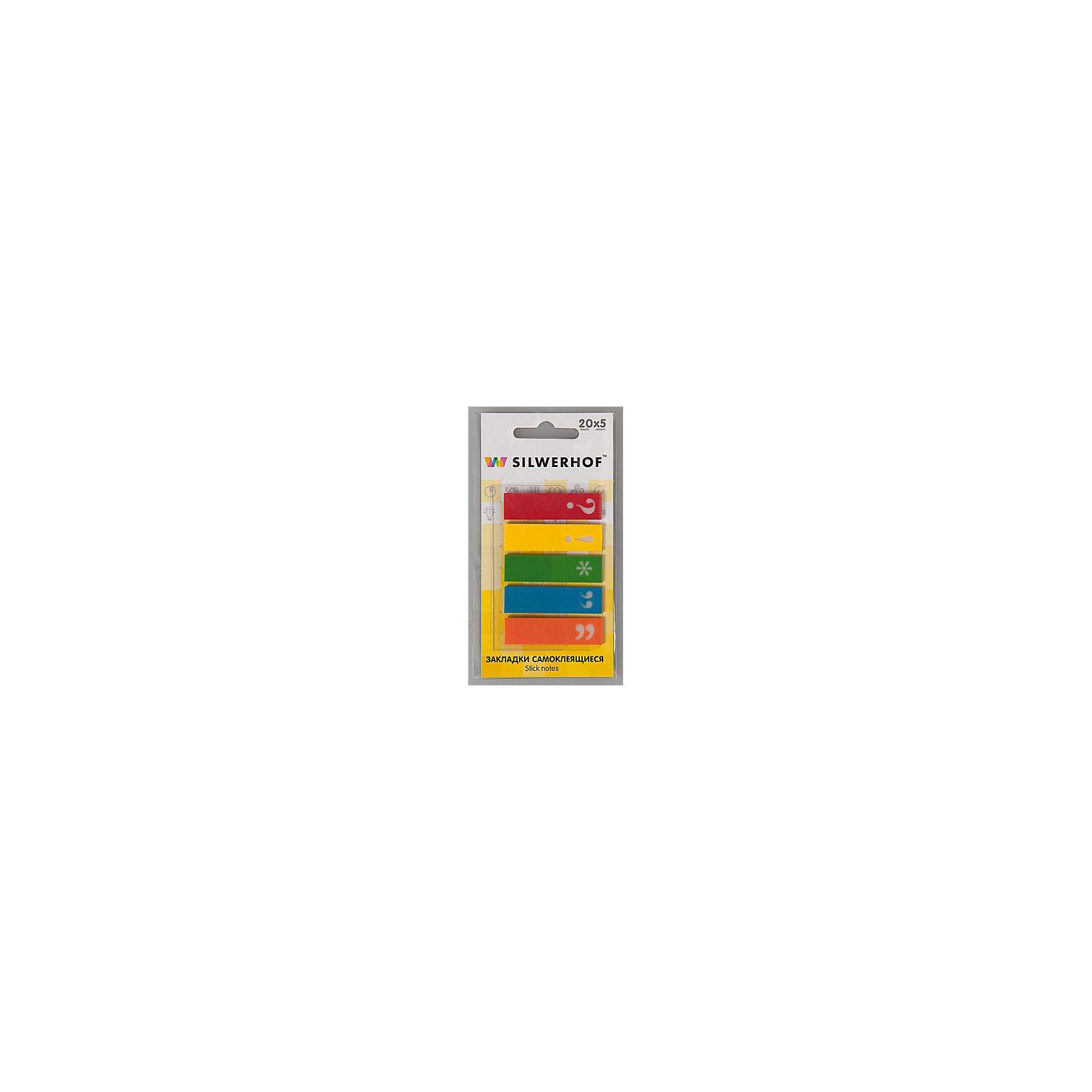 Silwerhof Закладки самоклеящиеся пластиковые Знаки препинания, 5 цветов.Школьные аксессуары<br>Пластиковые закладки  с рисунком Знаки препинания для быстрого поиска нужной страницы, на которых можно легко наносить надписи шариковой ручкой. Закладки удаляются, не оставляя следов клея и не повреждая бумагу. Подходят для многоразового использования. Размер 12х45 мм, склейки по 20 листов.<br><br>Ширина мм: 120<br>Глубина мм: 80<br>Высота мм: 5<br>Вес г: 9<br>Возраст от месяцев: 72<br>Возраст до месяцев: 2147483647<br>Пол: Унисекс<br>Возраст: Детский<br>SKU: 6725483