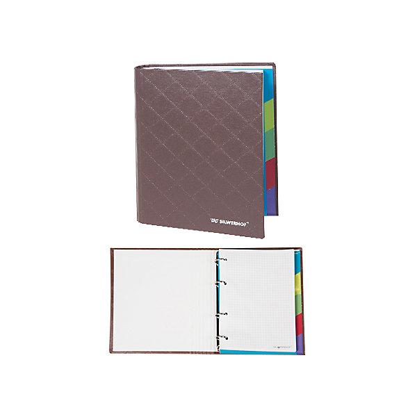 Silwerhof Тетрадь на кольцах А5 DIAMOND 160 листов с разделителями, коричневаяБумажная продукция<br>Тетрадь на кольцах формата А5 160 листов, с пятью цветными разделителями. Плотная обложка, покрытая современным переплетным материалом балакрон.<br><br>Ширина мм: 220<br>Глубина мм: 160<br>Высота мм: 45<br>Вес г: 175<br>Возраст от месяцев: 72<br>Возраст до месяцев: 2147483647<br>Пол: Унисекс<br>Возраст: Детский<br>SKU: 6725496