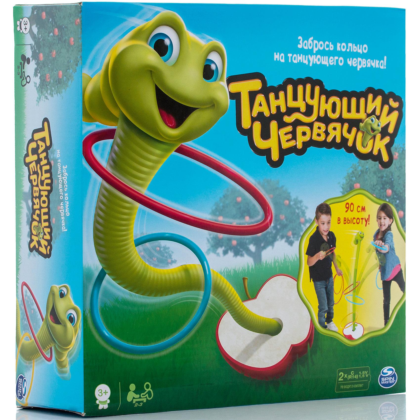 Игра Танцующий червячок Wobbly Worm, Spin MasterАктивные игры<br>Характеристики товара:<br><br>• возраст от 3 лет;<br>• материал: пластик;<br>• в комплекте: танцующий червячок, подставка, 9 колец, инструкция; <br>• количество игроков: 2-3;<br>• максимальная высота червя 90 см (регулируется);<br>• работает от 2 батареек С (в комплект не входят);<br>• размер упаковки 27х27х8 см;<br>• страна производитель: Китай.<br><br>Игра «Танцующий червячок Wobbly Worm» Spin Master позволит детям увлекательно провести время и потренироваться в ловкости и меткости. Цель игры — забросить кольца на червячка, который стоит на поставке. Игра усложняется тем, что червячок постоянно двигается, а кольца разного диаметра. Высота червячка регулируется. Играть можно как дома, так и взять игру с собой на прогулку или в парк. Игра тренирует координацию движений, ловкость, меткость.<br><br>Игру «Танцующий червячок Wobbly Worm» Spin Master можно приобрести в нашем интернет-магазине.<br><br>Ширина мм: 270<br>Глубина мм: 80<br>Высота мм: 270<br>Вес г: 947<br>Возраст от месяцев: 36<br>Возраст до месяцев: 2147483647<br>Пол: Унисекс<br>Возраст: Детский<br>SKU: 6727161