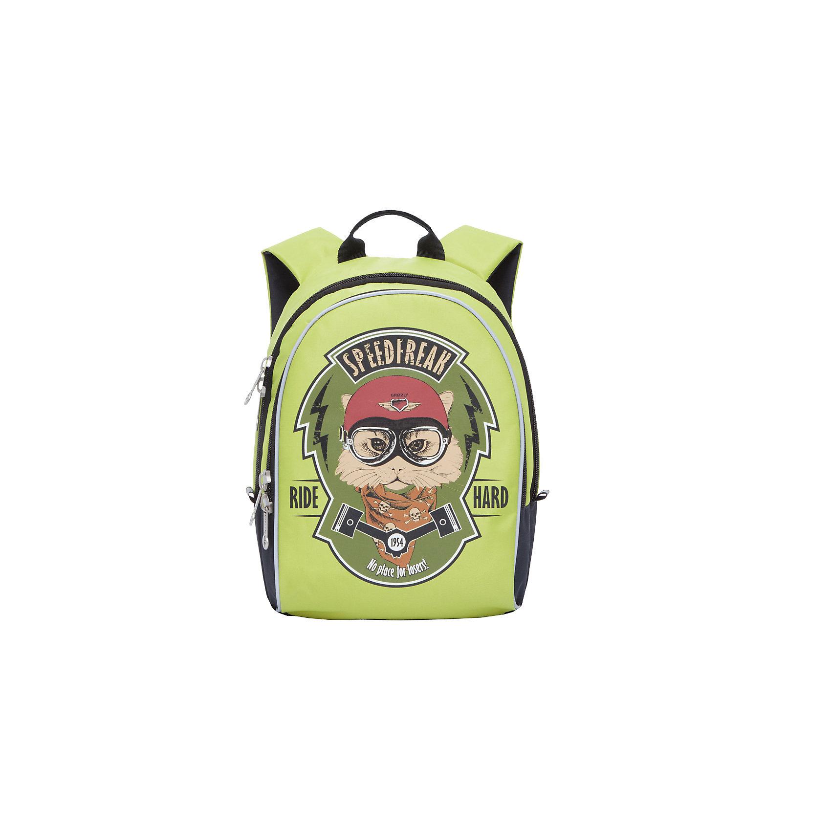 Grizzly рюкзак детский 2 отделенияРюкзаки<br>Рюкзак , два отделения, внутренний карман, укрепленная спинка, дополнительная ручка-петля, укрепленные лямки, светоотражающие элементы с четырех сторон.<br>Вес, г: 398<br>Размер, см: 29х38х18<br>Состав: Нейлон<br>Наличие светоотражающих элементов:  да<br>Материал: Нейлон<br>Спина:  полужесткая<br>Наличие дополнительных карманов внутри:  да<br>Дно выбрать:  Мягкое<br>Количество отделений внутри:  2<br>Боковые карманы: нет<br>Замок:  Молния<br>Вмещает А4:  да<br><br>Ширина мм: 290<br>Глубина мм: 180<br>Высота мм: 380<br>Вес г: 398<br>Возраст от месяцев: 60<br>Возраст до месяцев: 84<br>Пол: Мужской<br>Возраст: Детский<br>SKU: 6727459