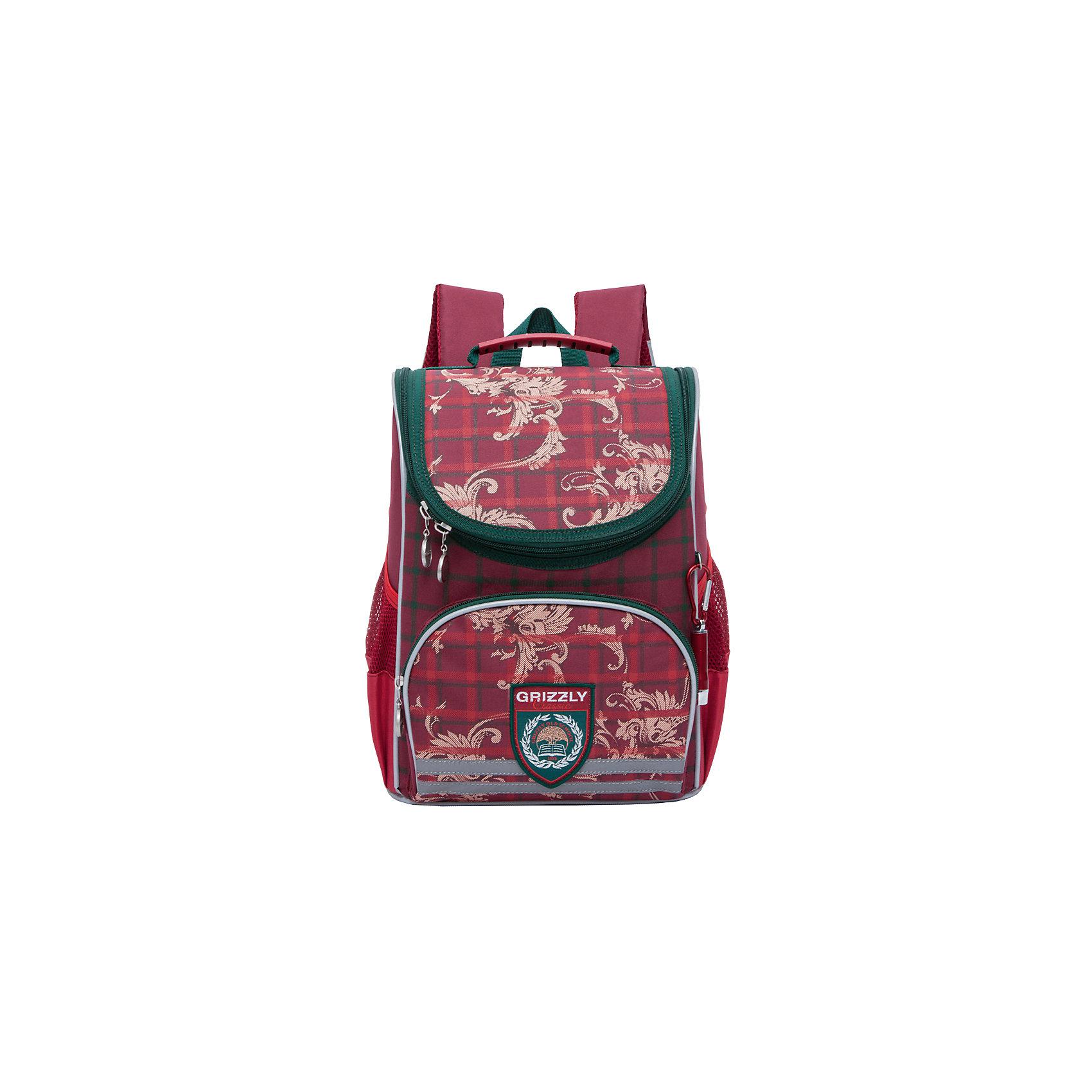 Рюкзак школьный Grizzly 1 отделениеРюкзаки<br>Рюкзак школьный, одно отделение, объемный карман на молнии на передней стенке, боковые карманы из сетки, откидное жесткое дно, разделительная перегородка-органайзер, укрепленная спинка, дополнительная ручка-петля, укрепленные лямки, брелок-катафот, светоотражающие элементы с четырех сторон.<br>Вес, г: 730<br>Размер, см: 25х33х13<br>Состав: Полиэстр<br>Наличие светоотражающих элементов:  да<br>Материал: Полиэстр<br>Спина:  жесткая<br>Наличие дополнительных карманов внутри:  нет<br>Дно выбрать:  жесткое<br>Количество отделений внутри:  1<br>Боковые карманы: да<br>Замок:  Молния<br>Вмещает А4:  да<br><br>Ширина мм: 250<br>Глубина мм: 130<br>Высота мм: 330<br>Вес г: 693<br>Возраст от месяцев: 72<br>Возраст до месяцев: 120<br>Пол: Женский<br>Возраст: Детский<br>SKU: 6727504