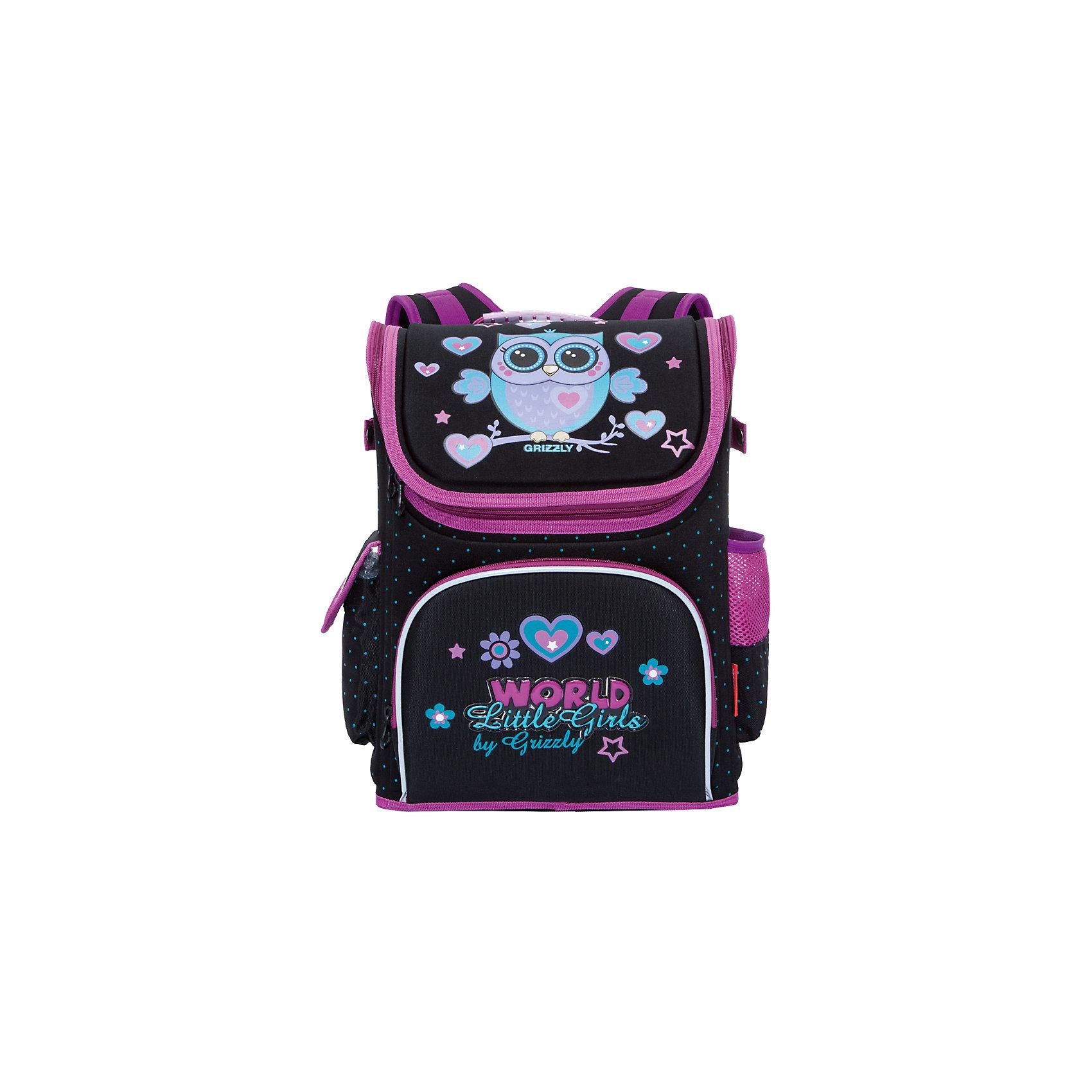 Рюкзак школьный Grizzly 1 отделениеРюкзаки<br>Рюкзак, одно отделение, карман на молнии на передней стенке, объемный боковой карман с клапаном, боковой карман на резинке, разделительная перегородка-органайзер с карманом из сетки, укрепленная спинка, дополнительная ручка-петля, эластичные лямки, светоотражающие элементы с четырех сторон.<br>Вес, г: 930<br>Размер, см: 28х37х16<br>Состав: Неопрен, нейлон 380<br>Наличие светоотражающих элементов:  да<br>Материал: Неопрен, нейлон 380<br>Спина:  жесткая<br>Наличие дополнительных карманов внутри:  нет<br>Дно выбрать:  жесткое<br>Количество отделений внутри:  1<br>Боковые карманы: да<br>Замок:  Молния<br>Вмещает А4:  да<br><br>Ширина мм: 280<br>Глубина мм: 160<br>Высота мм: 370<br>Вес г: 900<br>Возраст от месяцев: 72<br>Возраст до месяцев: 120<br>Пол: Женский<br>Возраст: Детский<br>SKU: 6727524