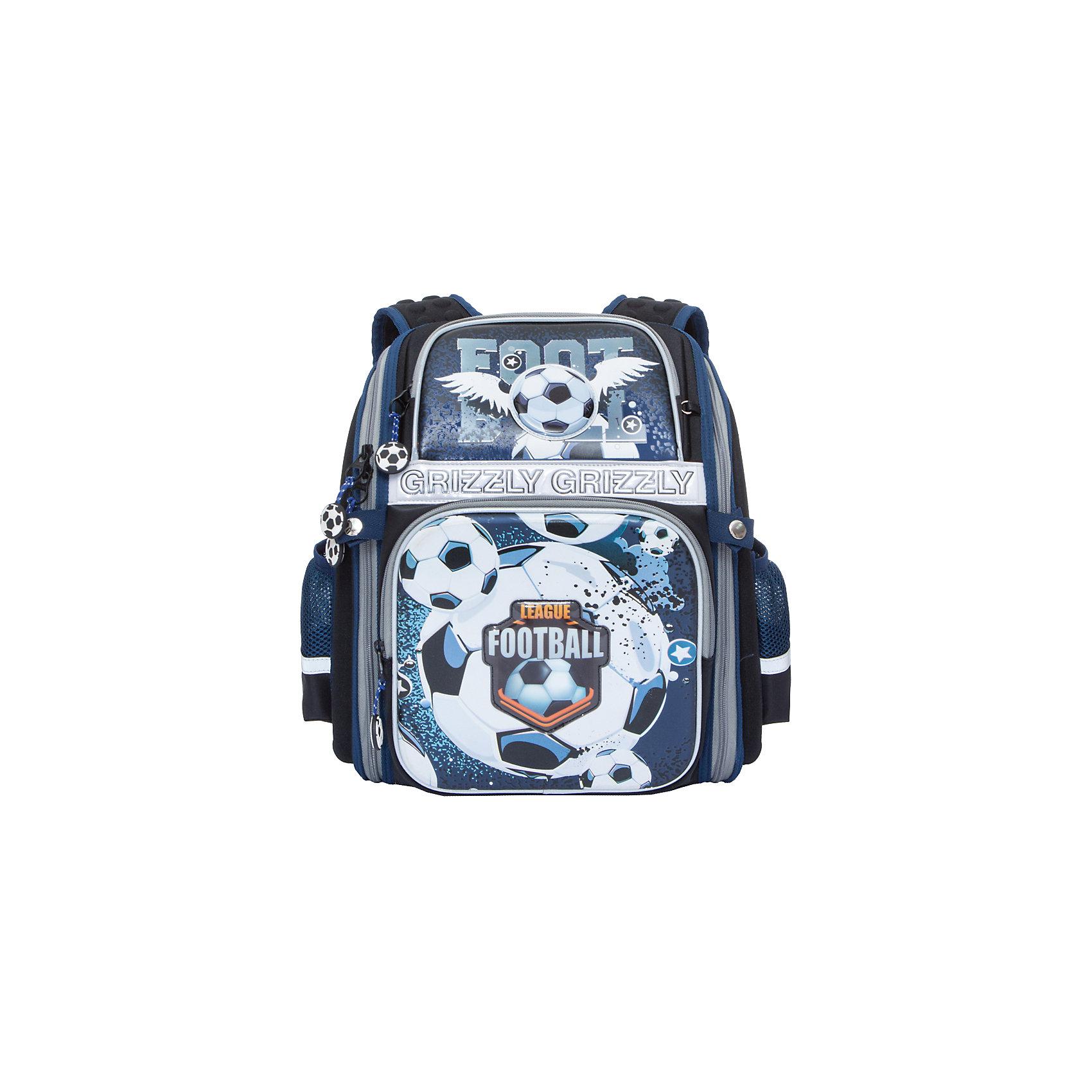 Grizzly рюкзак школьный 1 отделениеРюкзаки<br>Рюкзак школьный, одно отделение, два объемных кармана на молнии на передней стенке, объемные боковые карманы на молнии, внутренний карман на молнии, внутренний составной пенал-органайзер, жесткая анатомическая спинка, дополнительная ручка-петля, укрепленные лямки, брелок-игрушка, светоотражающие элементы с четырех сторон.<br>Вес, г: 1110<br>Размер, см: 30х37х16<br>Состав: Нейлон<br>Наличие светоотражающих элементов:  да<br>Материал: Нейлон<br>Спина:  жесткая<br>Наличие дополнительных карманов внутри:  нет<br>Дно выбрать:  жесткое<br>Количество отделений внутри:  1<br>Боковые карманы: да<br>Замок:  Молния<br>Вмещает А4:  да<br><br>Ширина мм: 300<br>Глубина мм: 160<br>Высота мм: 370<br>Вес г: 880<br>Возраст от месяцев: 72<br>Возраст до месяцев: 120<br>Пол: Мужской<br>Возраст: Детский<br>SKU: 6727537