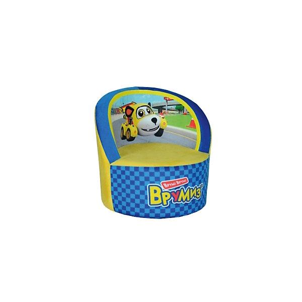 Кресло Врумиз, Small Toys, желтый/синийДетские мягкие кресла<br>Характеристики:<br><br>• Материал верх: текстиль, 100% <br>• Материал наполнитель: поролон, 100%<br>• Коллекция: Врумиз<br>• Съемный чехол<br>• Повышенная устойчивость<br>• Эргономичная форма<br>• Вес: 860 г<br>• Размеры (Д*Ш*В): 40*40*45 см<br>• Особенности ухода: сухая и влажная чистка<br><br>Кресло, Врумиз, голубой выполнено в круглой форме, в качестве каркаса использован упругий поролон. Сверху имеется съемный чехол, на который нанесены сюжеты из мультфильма Врумиз. <br><br>Изображение не блекнет и не меняет цвета даже при длительном использовании и частых стирках. Мягкое кресло имеет широкое днище, за счет чего обеспечивается повышенная устойчивость. Подлокотники имеют округую форму. <br><br>Кресло, Врумиз, желтый можно купить в нашем интернет-магазине.<br><br>Ширина мм: 400<br>Глубина мм: 400<br>Высота мм: 450<br>Вес г: 860<br>Возраст от месяцев: 36<br>Возраст до месяцев: 1188<br>Пол: Унисекс<br>Возраст: Детский<br>SKU: 6727943