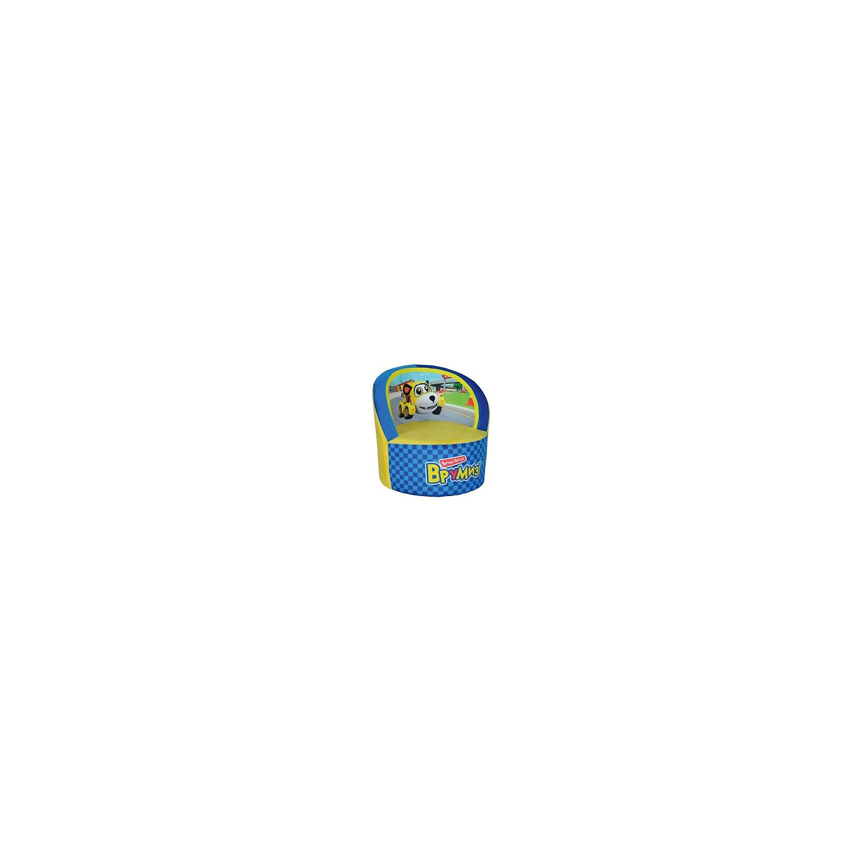 Кресло Врумиз, Small Toys, желтый/синийМебель<br>Характеристики:<br><br>• Материал верх: текстиль, 100% <br>• Материал наполнитель: поролон, 100%<br>• Коллекция: Врумиз<br>• Съемный чехол<br>• Повышенная устойчивость<br>• Эргономичная форма<br>• Вес: 860 г<br>• Размеры (Д*Ш*В): 40*40*45 см<br>• Особенности ухода: сухая и влажная чистка<br><br>Кресло, Врумиз, голубой выполнено в круглой форме, в качестве каркаса использован упругий поролон. Сверху имеется съемный чехол, на который нанесены сюжеты из мультфильма Врумиз. <br><br>Изображение не блекнет и не меняет цвета даже при длительном использовании и частых стирках. Мягкое кресло имеет широкое днище, за счет чего обеспечивается повышенная устойчивость. Подлокотники имеют округую форму. <br><br>Кресло, Врумиз, желтый можно купить в нашем интернет-магазине.<br><br>Ширина мм: 400<br>Глубина мм: 400<br>Высота мм: 450<br>Вес г: 860<br>Возраст от месяцев: 36<br>Возраст до месяцев: 1188<br>Пол: Унисекс<br>Возраст: Детский<br>SKU: 6727943