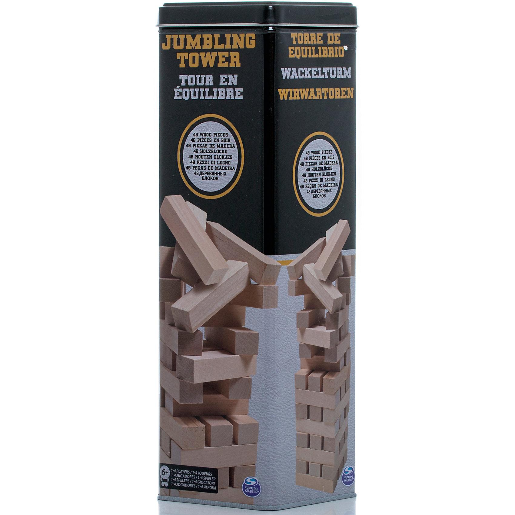Настольная игра Падающая башня в жестяной банке, 48 блоков, Spin MasterНастольные игры<br>Характеристики товара:<br><br>• возраст от 6 лет;<br>• материал: дерево;<br>• в комплекте: 48 блоков, жестяная банка;<br>• количество игроков: до 4;<br>• размер блока 7,5 см;<br>• размер упаковки 28х9х9 см;<br>• страна производитель: Китай.<br><br>Настольная игра «Падающая башня» в жестяной банке Spin Master — увлекательная игра для компании до 4 человек. Цель игры — построить высокую башню, а затем убирать из нее по одному брусочку и помещать его наверх. Только следует быть аккуратным и внимательным, вынимая брусочки. Башня не должна упасть, иначе игрок проиграет. Игра тренирует внимательность, аккуратность, смекалку, ловкость. <br><br>Настольную игру «Падающая башня» в жестяной банке Spin Master можно приобрести в нашем интернет-магазине.<br><br>Ширина мм: 90<br>Глубина мм: 90<br>Высота мм: 280<br>Вес г: 985<br>Возраст от месяцев: 72<br>Возраст до месяцев: 2147483647<br>Пол: Унисекс<br>Возраст: Детский<br>SKU: 6728758