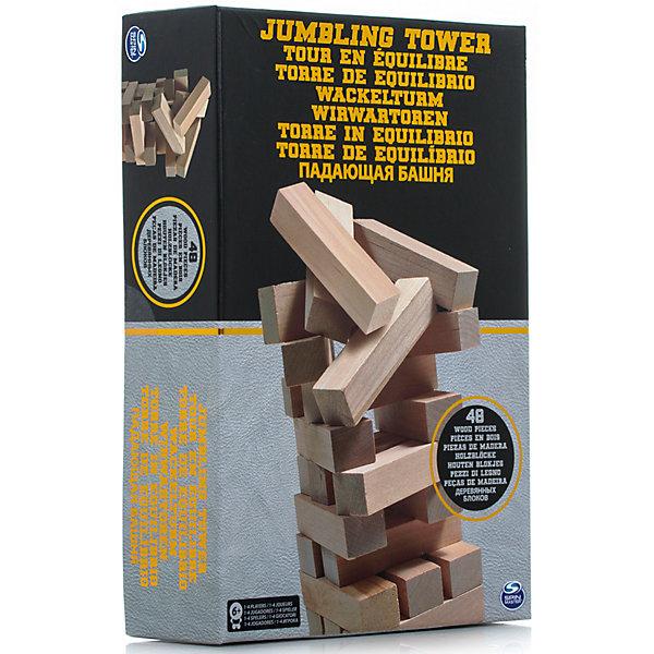 Настольная игра Падающая башня, 48 блоков, Spin MasterТоп игр<br>Характеристики товара:<br><br>• возраст от 6 лет;<br>• материал: дерево;<br>• в комплекте: 48 блоков;<br>• количество игроков: до 4;<br>• размер блока 7,5 см;<br>• размер упаковки 28х19х7 см;<br>• страна производитель: Китай.<br><br>Настольная игра «Падающая башня» Spin Master — увлекательная игра для компании до 4 человек. Цель игры — построить высокую башню, а затем убирать из нее по одному брусочку и помещать его наверх. Только следует быть аккуратным и внимательным, вынимая брусочки. Башня не должна упасть, иначе игрок проиграет. Игра тренирует внимательность, аккуратность, смекалку, ловкость. <br><br>Настольную игру «Падающая башня» Spin Master можно приобрести в нашем интернет-магазине.<br><br>Ширина мм: 190<br>Глубина мм: 70<br>Высота мм: 280<br>Вес г: 1082<br>Возраст от месяцев: 72<br>Возраст до месяцев: 2147483647<br>Пол: Унисекс<br>Возраст: Детский<br>SKU: 6728759