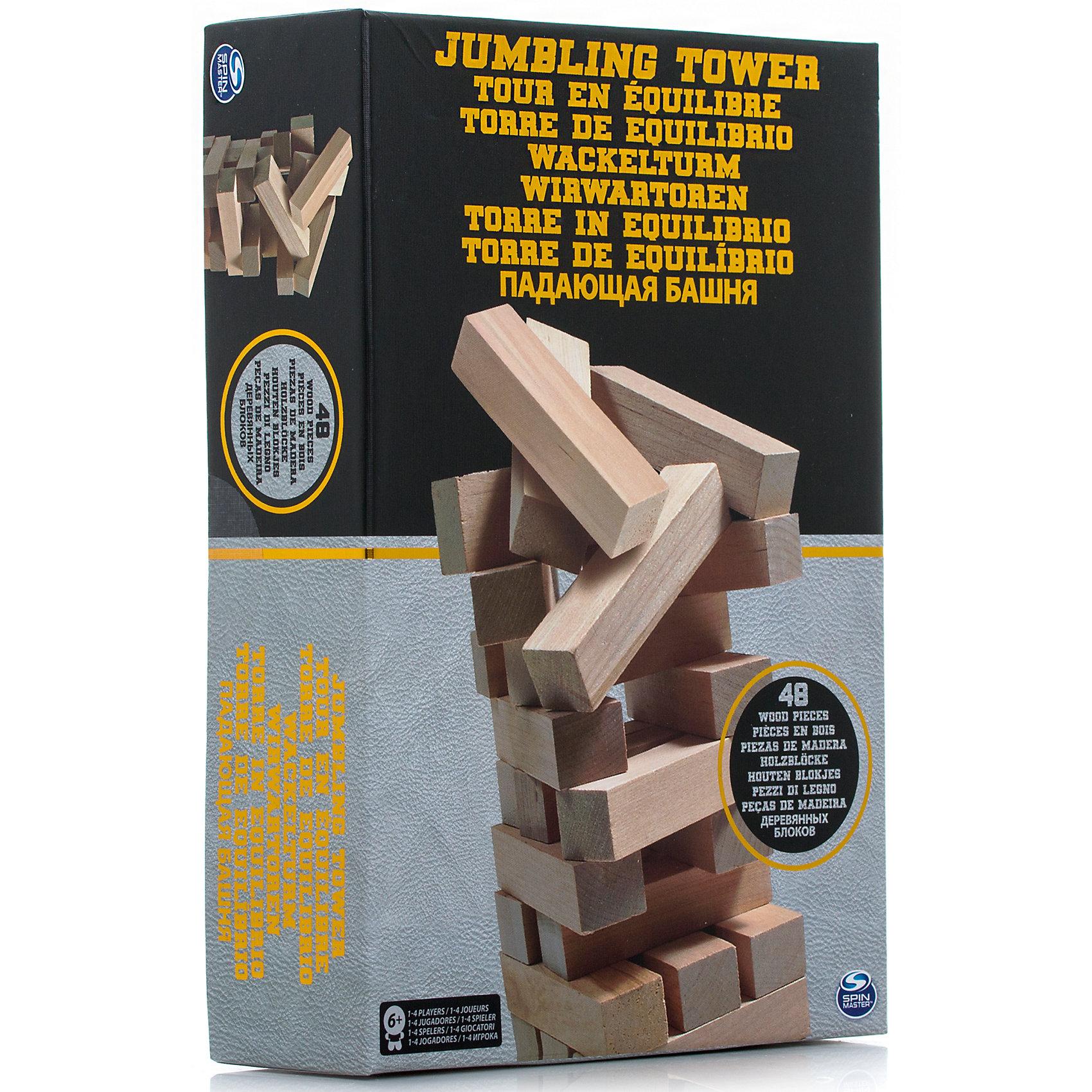 Настольная игра Падающая башня, 48 блоков, Spin MasterНастольные игры для всей семьи<br>Характеристики товара:<br><br>• возраст от 6 лет;<br>• материал: дерево;<br>• в комплекте: 48 блоков;<br>• количество игроков: до 4;<br>• размер блока 7,5 см;<br>• размер упаковки 28х19х7 см;<br>• страна производитель: Китай.<br><br>Настольная игра «Падающая башня» Spin Master — увлекательная игра для компании до 4 человек. Цель игры — построить высокую башню, а затем убирать из нее по одному брусочку и помещать его наверх. Только следует быть аккуратным и внимательным, вынимая брусочки. Башня не должна упасть, иначе игрок проиграет. Игра тренирует внимательность, аккуратность, смекалку, ловкость. <br><br>Настольную игру «Падающая башня» Spin Master можно приобрести в нашем интернет-магазине.<br><br>Ширина мм: 190<br>Глубина мм: 70<br>Высота мм: 280<br>Вес г: 1082<br>Возраст от месяцев: 72<br>Возраст до месяцев: 2147483647<br>Пол: Унисекс<br>Возраст: Детский<br>SKU: 6728759