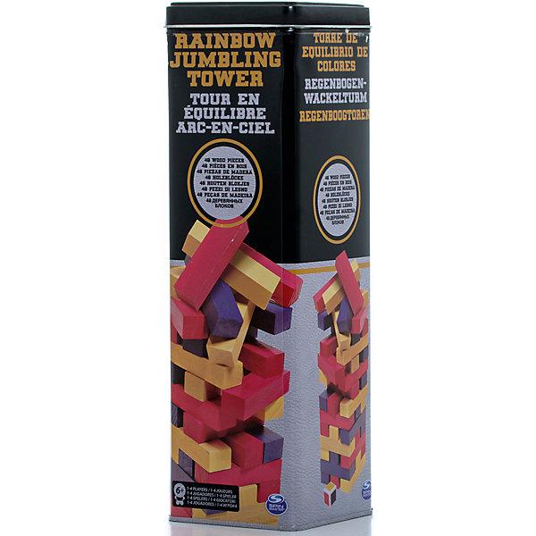 Настольная игра Падающая башня цветная, Spin MasterТоп игр<br>Характеристики товара:<br><br>• возраст от 6 лет;<br>• материал: дерево;<br>• в комплекте: 48 блоков;<br>• количество игроков: до 4;<br>• размер блока 7,5 см;<br>• размер упаковки 28х9х9 см;<br>• страна производитель: Китай.<br><br>Настольная игра «Падающая башня» цветная Spin Master — увлекательная игра для компании до 4 человек. Цель игры — построить высокую башню, а затем убирать из нее по одному брусочку и помещать его наверх. Только следует быть аккуратным и внимательным, вынимая брусочки. Башня не должна упасть, иначе игрок проиграет. Игра тренирует внимательность, аккуратность, смекалку, ловкость. <br><br>Настольную игру «Падающая башня» цветную Spin Master можно приобрести в нашем интернет-магазине.<br><br>Ширина мм: 90<br>Глубина мм: 90<br>Высота мм: 280<br>Вес г: 953<br>Возраст от месяцев: 72<br>Возраст до месяцев: 2147483647<br>Пол: Унисекс<br>Возраст: Детский<br>SKU: 6728760