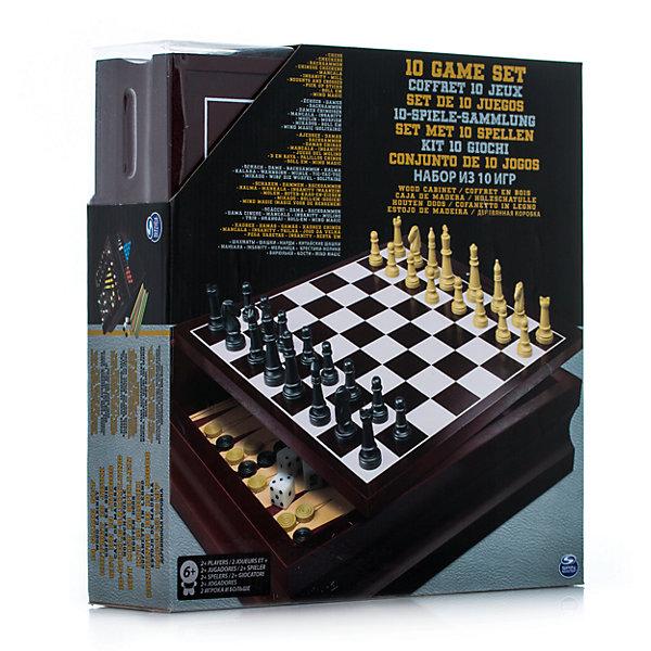 Семейный набор из 10 игр, Spin MasterСпортивные настольные игры<br>Характеристики товара:<br><br>• возраст от 6 лет;<br>• материал: дерево, пластик, картон;<br>• в комплекте: доска для нардов, коробка с двусторонней доской, 48 фишек для манкалы, 32 шахматные фигуры, 60 китайских шашек, 30 бирюлек, 2 кубика, кубик удвоения, инструкция;<br>• размер упаковки 32х31х8 см;<br>• страна производитель: Китай.<br><br>Семейный набор из 10 игр Spin Master позволит весело и увлекательно провести время в кругу семьи или друзей. В наборе сразу 10 различных игр: нарды, шахматы, шашки, мельница, кости, бирюльки, манкала, крестики-нолики, Insanity, Magic mind.<br><br>Семейный набор из 10 игр Spin Master можно приобрести в нашем интернет-магазине.<br><br>Ширина мм: 320<br>Глубина мм: 80<br>Высота мм: 310<br>Вес г: 1815<br>Возраст от месяцев: 72<br>Возраст до месяцев: 2147483647<br>Пол: Унисекс<br>Возраст: Детский<br>SKU: 6728761