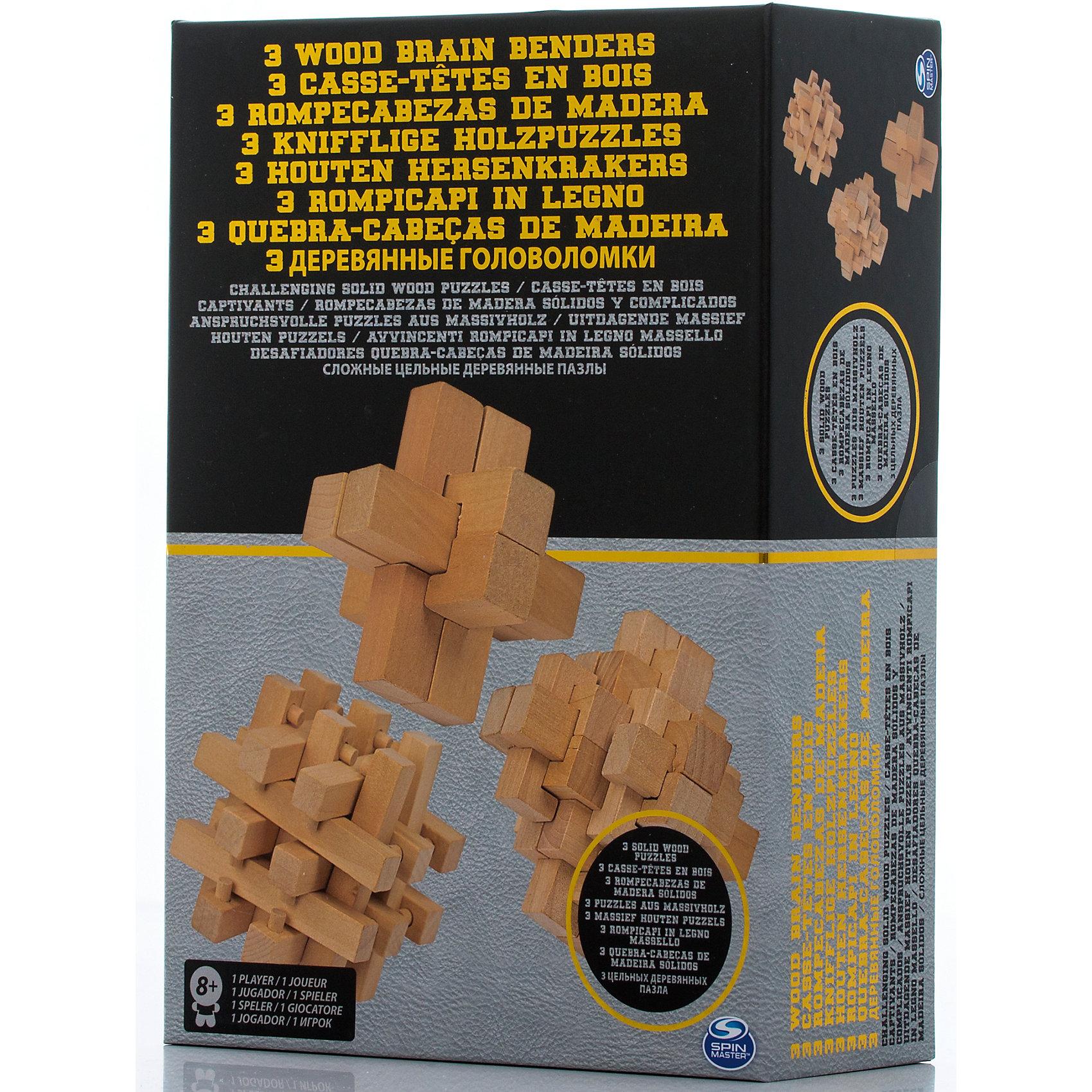 Набор головоломок 3 штуки, Spin MasterДеревянные головоломки<br>Характеристики товара:<br><br>• возраст от 8 лет;<br>• материал: дерево;<br>• в комплекте: 3 головоломки;<br>• размер упаковки 28х19х9 см;<br>• страна производитель: Китай.<br><br>Набор головоломок Spin Master включает в себя деревянные детали, из которых нужно собрать необходимую фигуру. В наборе сразу 3 разные головоломки. Игра развивает логическое мышление, смекалку и сообразительность.<br><br>Набор головоломок Spin Master можно приобрести в нашем интернет-магазине.<br><br>Ширина мм: 190<br>Глубина мм: 90<br>Высота мм: 280<br>Вес г: 642<br>Возраст от месяцев: 96<br>Возраст до месяцев: 2147483647<br>Пол: Унисекс<br>Возраст: Детский<br>SKU: 6728763