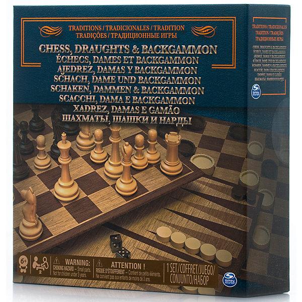 Набор 3-в-1 Шахматы, шашки, нарды, Spin MasterСпортивные настольные игры<br>Характеристики товара:<br><br>• возраст от 6 лет;<br>• материал: картон, пластик;<br>• в комплекте: игровое поле, фишки для шашек, нард, фигуры для шахмат, правила игры;<br>• размер игрового поля 34х34 см;<br>• размер упаковки 21х21х6 см;<br>• страна производитель: Китай.<br><br>Набор 3 в 1 «Шахматы, шашки, нарды» Spin Master позволит увлекательно и познавательно провести время в кругу семьи и друзей дома или в путешествии. В наборе необходимые атрибуты для 3 игр: шахматы, шашки и нарды. В процессе игры тренируются логическое, пространственное мышление, сообразительность.<br><br>Набор 3 в 1 «Шахматы, шашки, нарды» Spin Master можно приобрести в нашем интернет-магазине.<br><br>Ширина мм: 210<br>Глубина мм: 60<br>Высота мм: 210<br>Вес г: 488<br>Возраст от месяцев: 60<br>Возраст до месяцев: 2147483647<br>Пол: Унисекс<br>Возраст: Детский<br>SKU: 6728766
