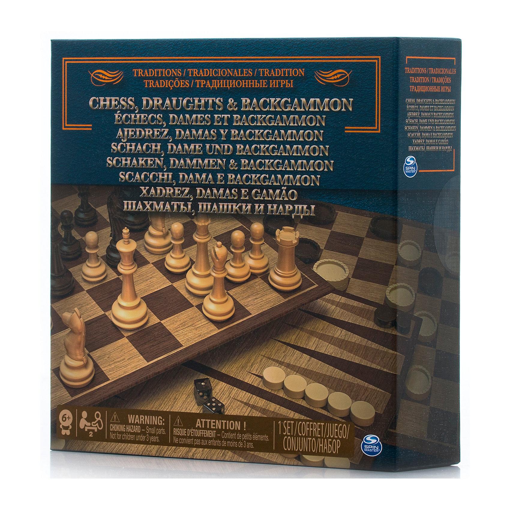 Набор 3-в-1 Шахматы, шашки, нарды, Spin MasterНастольные игры<br>Характеристики товара:<br><br>• возраст от 6 лет;<br>• материал: картон, пластик;<br>• в комплекте: игровое поле, фишки для шашек, нард, фигуры для шахмат, правила игры;<br>• размер игрового поля 34х34 см;<br>• размер упаковки 21х21х6 см;<br>• страна производитель: Китай.<br><br>Набор 3 в 1 «Шахматы, шашки, нарды» Spin Master позволит увлекательно и познавательно провести время в кругу семьи и друзей дома или в путешествии. В наборе необходимые атрибуты для 3 игр: шахматы, шашки и нарды. В процессе игры тренируются логическое, пространственное мышление, сообразительность.<br><br>Набор 3 в 1 «Шахматы, шашки, нарды» Spin Master можно приобрести в нашем интернет-магазине.<br><br>Ширина мм: 210<br>Глубина мм: 60<br>Высота мм: 210<br>Вес г: 488<br>Возраст от месяцев: 60<br>Возраст до месяцев: 2147483647<br>Пол: Унисекс<br>Возраст: Детский<br>SKU: 6728766