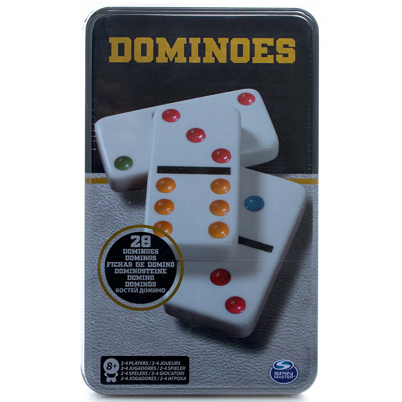 Домино, Spin MasterНастольные игры<br>Характеристики товара:<br><br>• возраст от 8 лет;<br>• материал: пластик, металл;<br>• в комплекте: 28 костей;<br>• размер упаковки 12х19х4 см;<br>• страна производитель: Китай.<br><br>Домино Spin Master позволит увлекательно и познавательно провести время в кругу семьи и друзей. Классическая игра в домино включает кости с цифрами. Во время игры участники соединяют кости по соответствующим цифровым значениям, создавая большую цепочку. В конце игры происходит подсчет значений. Игра развивает смекалку, логическое мышление, сообразительность.<br><br>Домино Spin Master можно приобрести в нашем интернет-магазине.<br><br>Ширина мм: 120<br>Глубина мм: 40<br>Высота мм: 190<br>Вес г: 597<br>Возраст от месяцев: 96<br>Возраст до месяцев: 2147483647<br>Пол: Унисекс<br>Возраст: Детский<br>SKU: 6728770