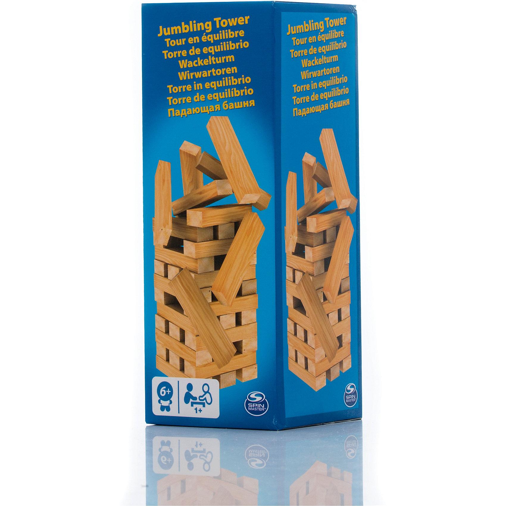 Настольная игра Падающая башня, 39 блоков, Spin MasterНастольные игры для всей семьи<br>Характеристики товара:<br><br>• возраст от 6 лет;<br>• материал: дерево;<br>• в комплекте: 39 блоков;<br>• максимальное количество игроков: 4 человека;<br>• размер блока 7,5 см;<br>• размер упаковки 21х8х8 см;<br>• страна производитель: Китай.<br><br>Настольная игра «Падающая башня» Spin Master — увлекательная игра для компании до 4 человек. Цель игры — построить высокую башню, а затем убирать из нее по одному брусочку и помещать его наверх. Только следует быть аккуратным и внимательным, вынимая брусочки. Башня не должна упасть, иначе игрок проиграет. Игра тренирует внимательность, аккуратность, смекалку, ловкость. <br><br>Настольную игру «Падающая башня» Spin Master можно приобрести в нашем интернет-магазине.<br><br>Ширина мм: 80<br>Глубина мм: 80<br>Высота мм: 210<br>Вес г: 718<br>Возраст от месяцев: 72<br>Возраст до месяцев: 2147483647<br>Пол: Унисекс<br>Возраст: Детский<br>SKU: 6728771