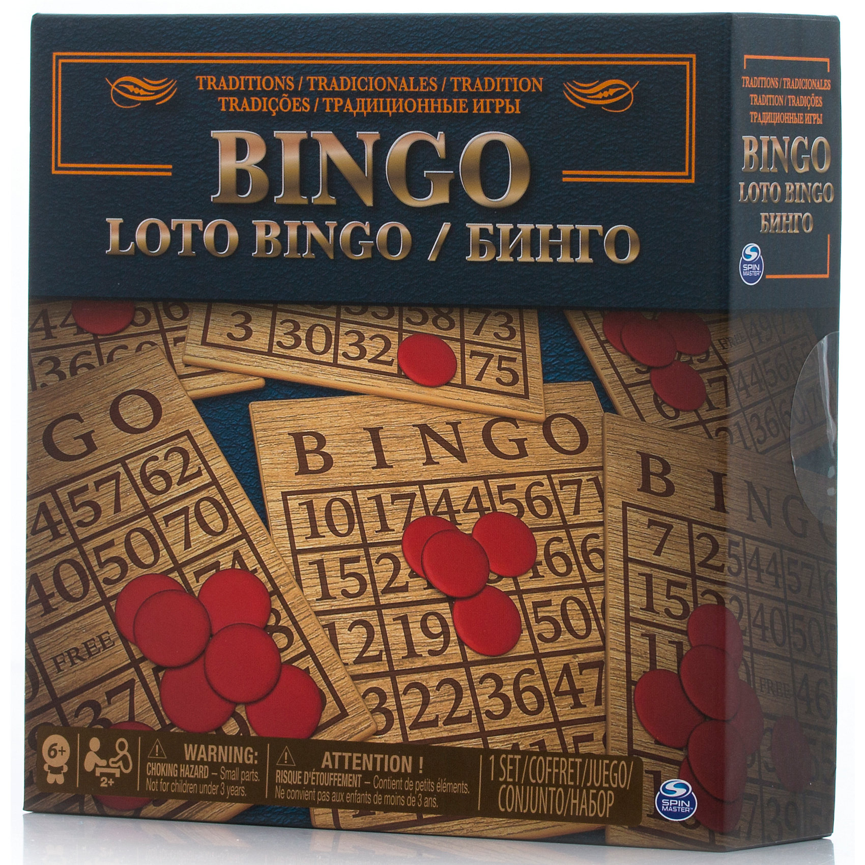 Лото, Spin MasterСпортивные настольные игры<br>Характеристики товара:<br><br>• возраст от 6 лет;<br>• материал: картон, пластик;<br>• в комплекте: 18 двусторонних карт, 75 жетонов, 300 фишек, правила игры;<br>• размер упаковки 21х21х6 см;<br>• страна производитель: Китай.<br><br>Лото Spin Master — классическая игра в лото, в которой каждый игрок получает карточку с цифрами, которую должен закрыть. Когда выпадает одно число, игрок обводит это число или закрывает фишкой, если оно есть в его карточке. Побеждает тот, кто быстрее всех закроет свою карточку.<br><br>Лото Spin Master можно приобрести в нашем интернет-магазине.<br><br>Ширина мм: 210<br>Глубина мм: 60<br>Высота мм: 210<br>Вес г: 453<br>Возраст от месяцев: 60<br>Возраст до месяцев: 2147483647<br>Пол: Унисекс<br>Возраст: Детский<br>SKU: 6728777