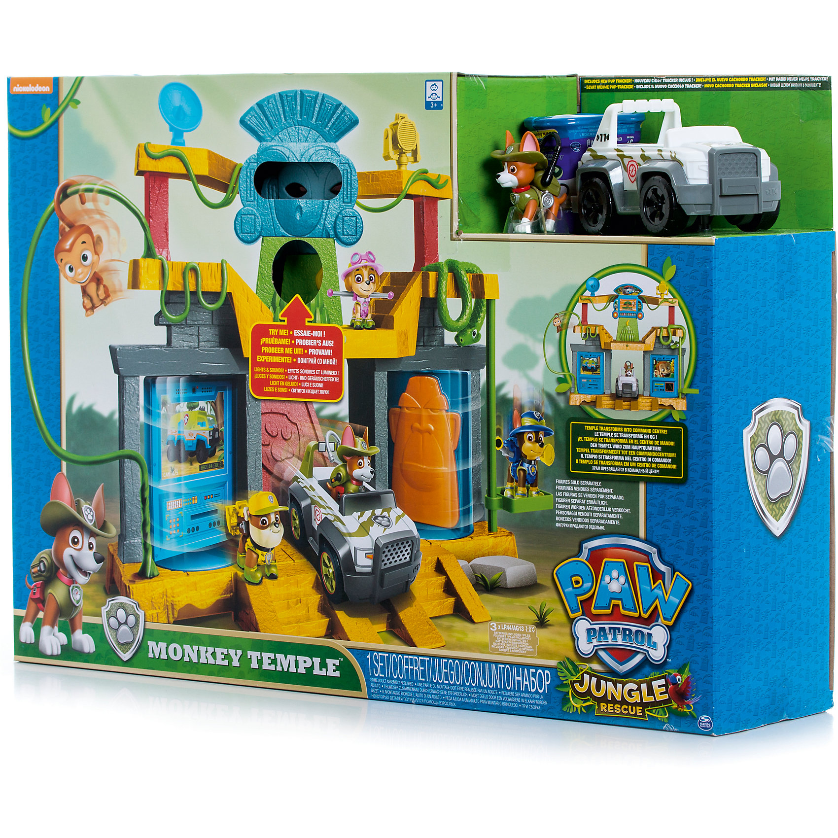 Игрушка Штаб спасателей в джунглях, Щенячий патруль, Spin MasterИгровые наборы<br>Характеристики товара:<br><br>• возраст от 3 лет;<br>• материал: пластик;<br>• в комплекте: фигурка щенка, обезьянка, автомобиль, подвижные стены, крутящийся камень, трапы;<br>• работает от 3 батареек LR44 (в комплект не входят);<br>• размер упаковки 58х40х13 см;<br>• страна производитель: Китай.<br><br>Игрушка «Штаб спасателей в джунглях» Щенячий патруль Spin Master создана по мотивам известного мультфильма «Щенячий патруль» про отважных щенков-спасателей. <br><br>Игрушка выполнена в виде большого храма в джунглях, обвитого лианами. Чтобы подняться на 2 этаж храма, надо пройти на специальный подъемник. На вершине храма расположился большой тотем в виде обезьяны. Нажав на банан, тотем начнет издавать звуки, а глаза засверкают. <br><br>Храм может превращаться в командный центр щенков-спасателей. Достаточно лишь повернуть переключатель, и храм превратиться в центр с изображениями и табличками любимых персонажей. В комплекте фигурка Трекера с рюкзачком на спине и его машина, на которой он отправляется на важные задания.<br><br>Игрушку «Штаб спасателей в джунглях» Щенячий патруль Spin Master можно приобрести в нашем интернет-магазине.<br><br>Ширина мм: 590<br>Глубина мм: 130<br>Высота мм: 410<br>Вес г: 2500<br>Возраст от месяцев: 36<br>Возраст до месяцев: 2147483647<br>Пол: Унисекс<br>Возраст: Детский<br>SKU: 6728778